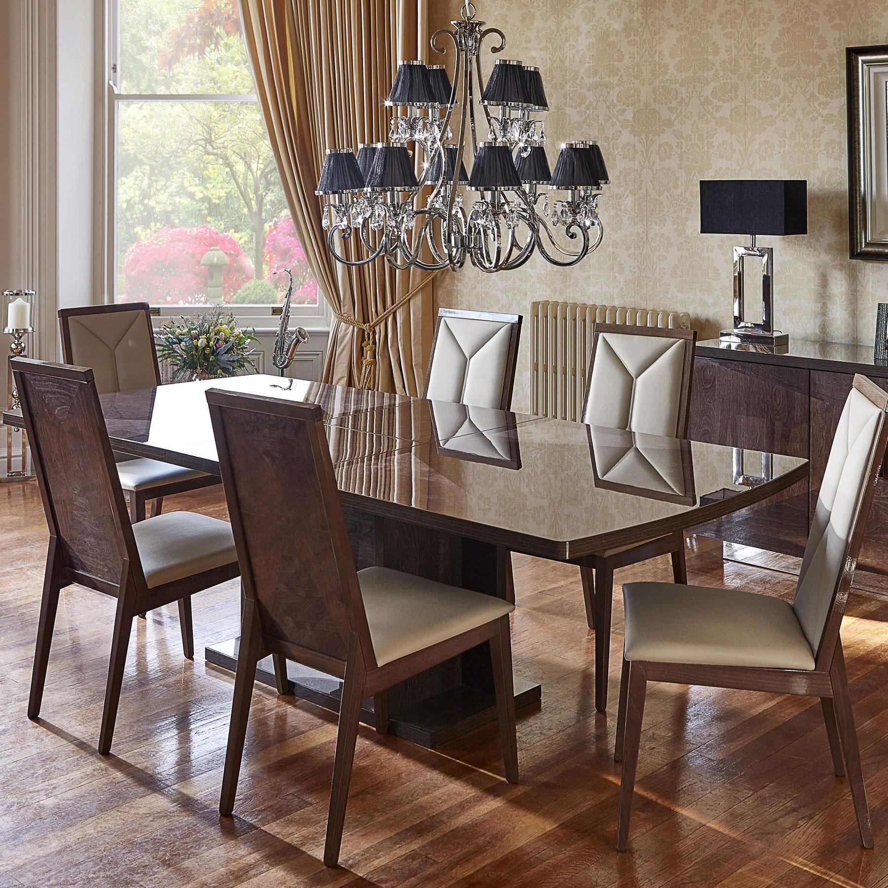 Favorite Vogue High Gloss Extending Dining Table & 6 Chairs Throughout Extending Gloss Dining Tables (View 10 of 25)