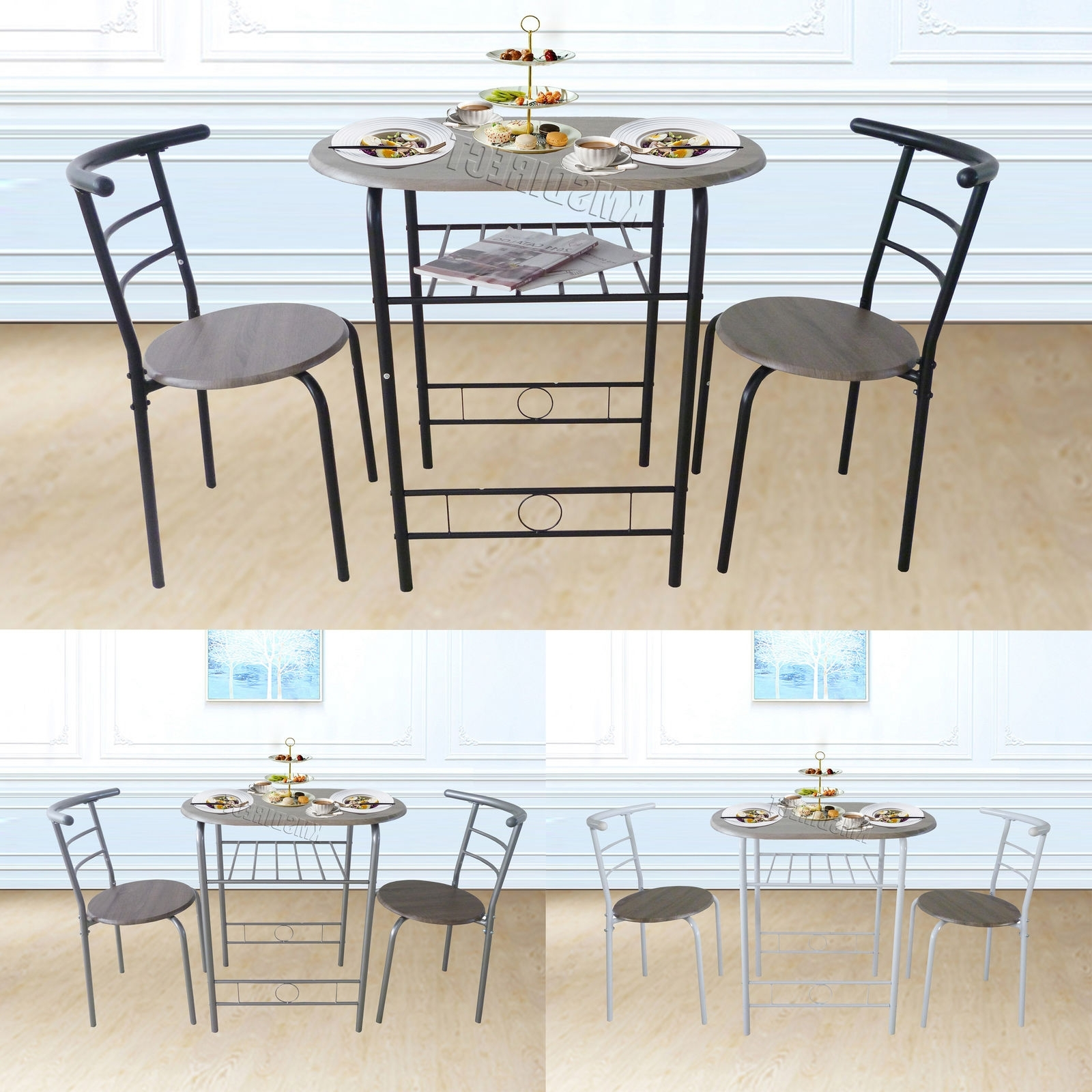 Favorite Westwood Compact Dining Table Breakfast Bar 2 Chair Set Metal Mdf For Compact Dining Sets (View 14 of 25)