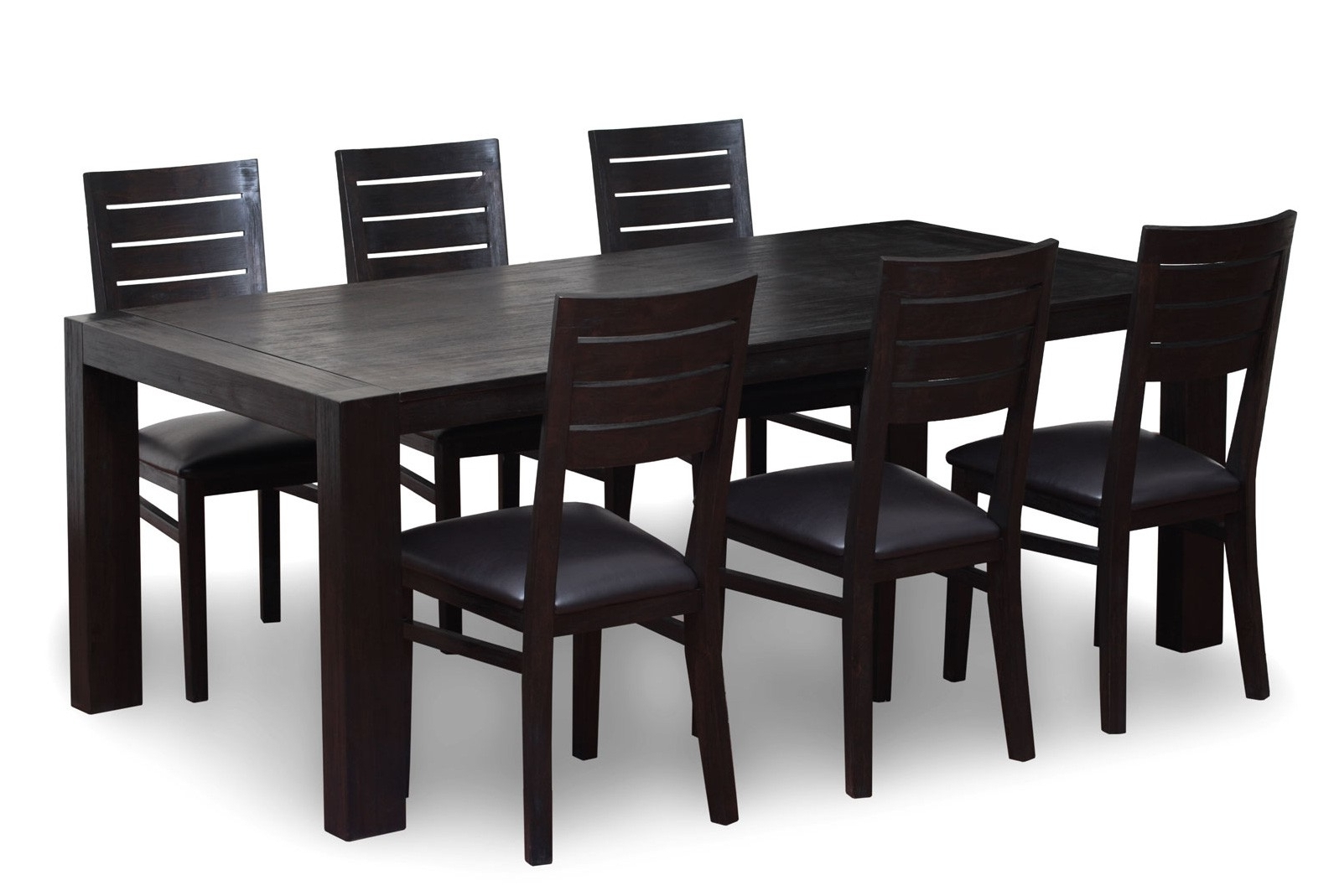 Favorite Wood Dining Tables And 6 Chairs Throughout 6 Seater Wooden Dining Table Set – Antique Ebony (View 5 of 25)