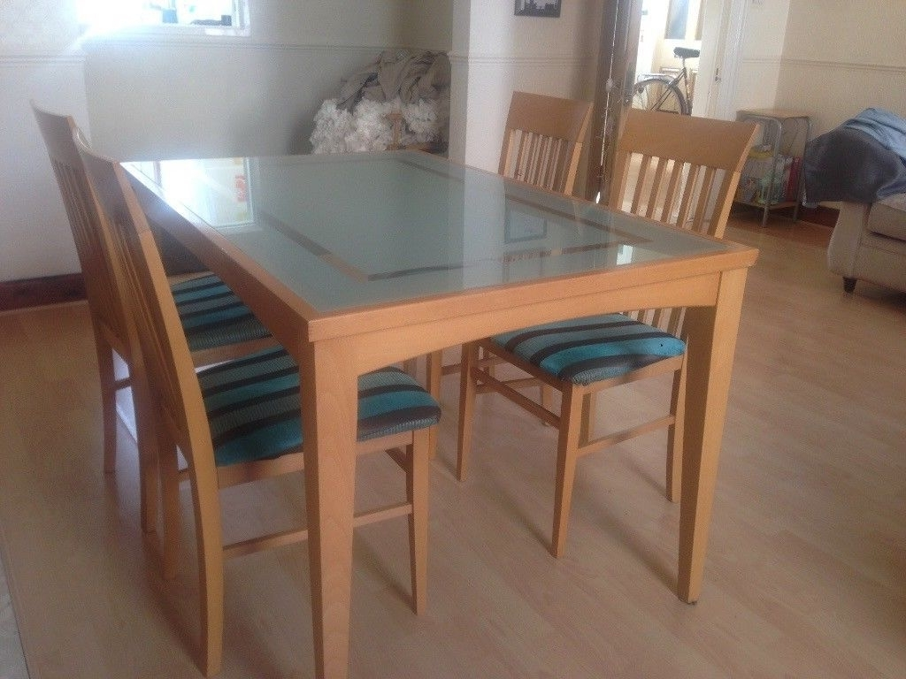 Favorite Wooden Glass Dining Tables Intended For Glass Dining Table With Wooden Border And Legs With 4 Chairs (View 8 of 25)