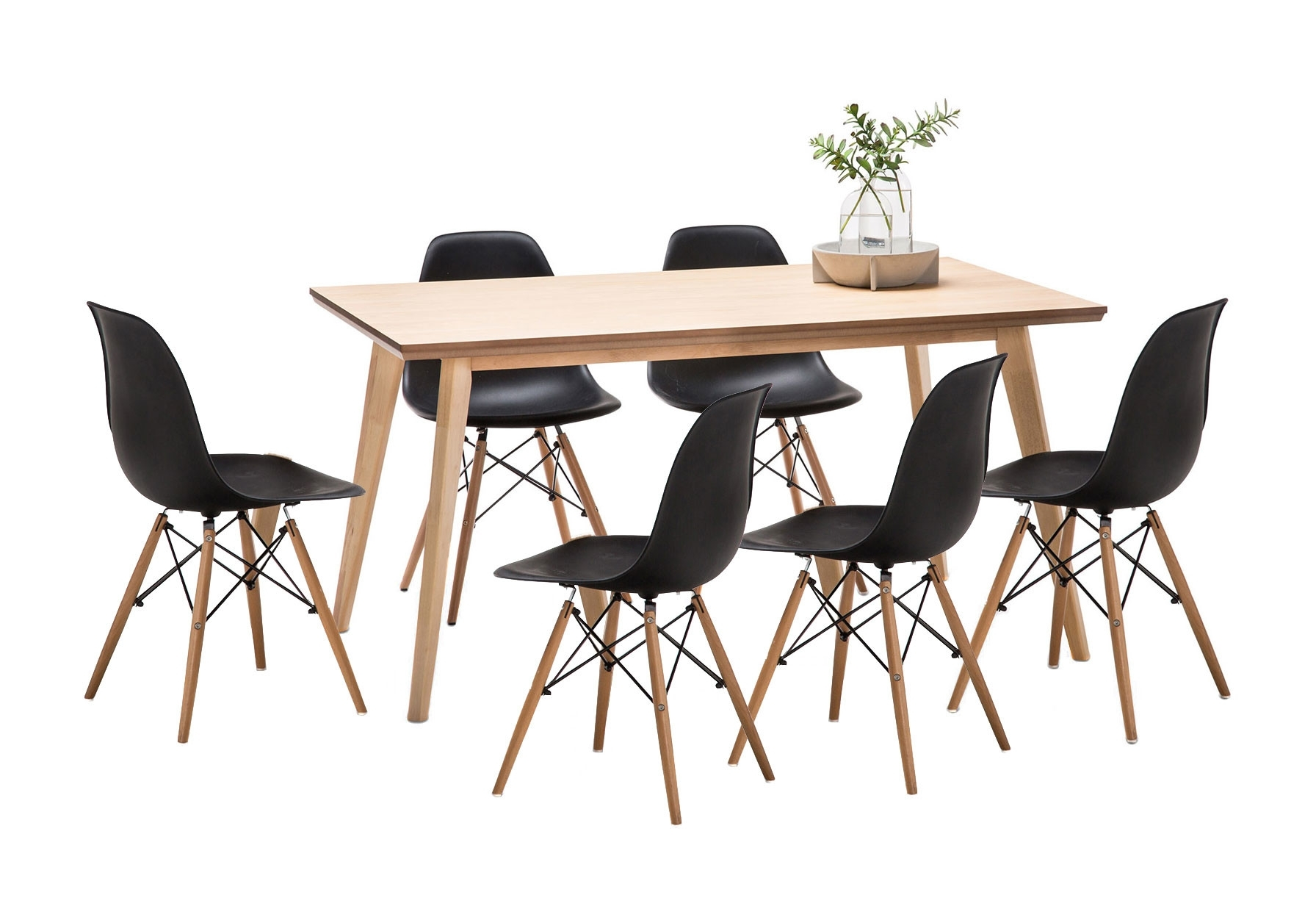 Favorite Wyatt Dining Table Set With 6 Replica Eames Chairs (View 8 of 25)