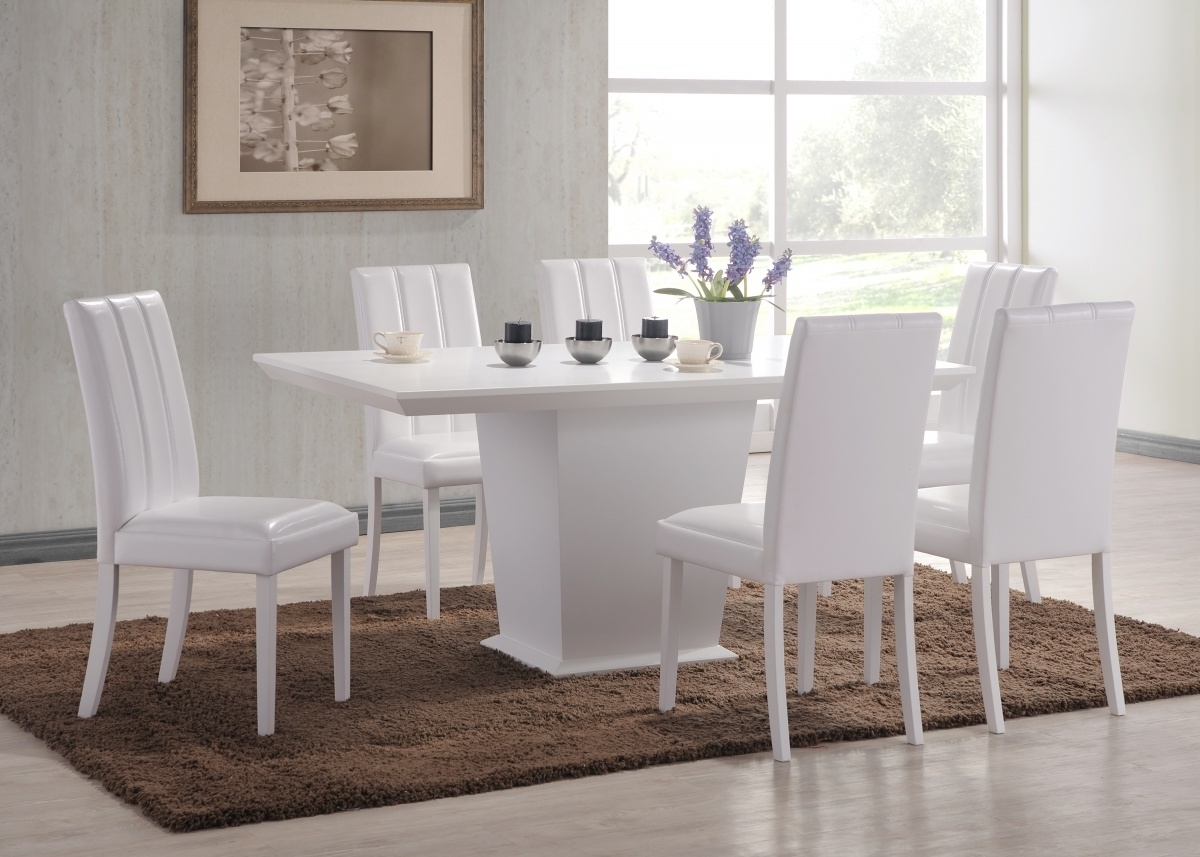 Feather White Dining Table + 6 Chair Set – Forever Furnishings With Preferred White Dining Sets (View 24 of 25)