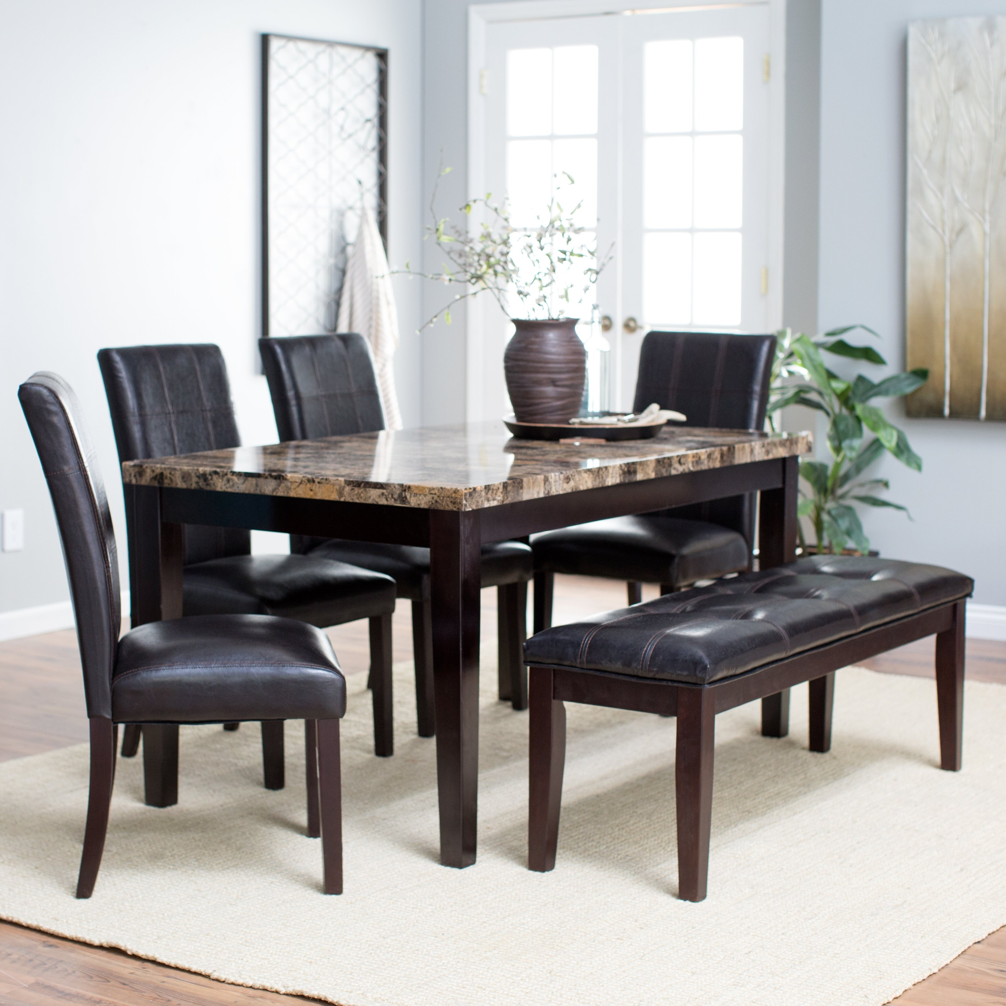 Finley Home Palazzo 6 Piece Dining Set With Bench (View 3 of 25)