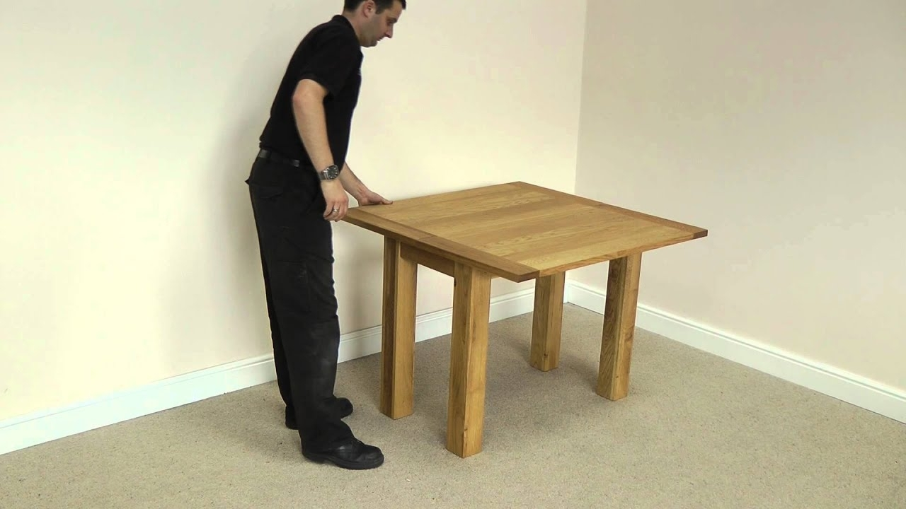 Flip Top Oak Dining Tables Pertaining To Newest Flip Top Square Oak Dining Table 100Cm X 50Cm – 100Cm X 100Cm – Youtube (View 15 of 25)