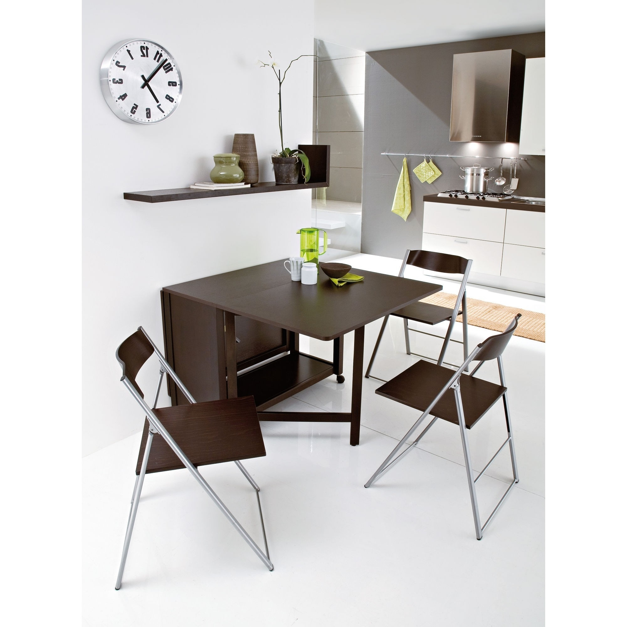 Folding Dining Table And Chairs Sets Intended For 2018 Modern Folding Wood And Metal Furniture For Dining Area (View 22 of 25)
