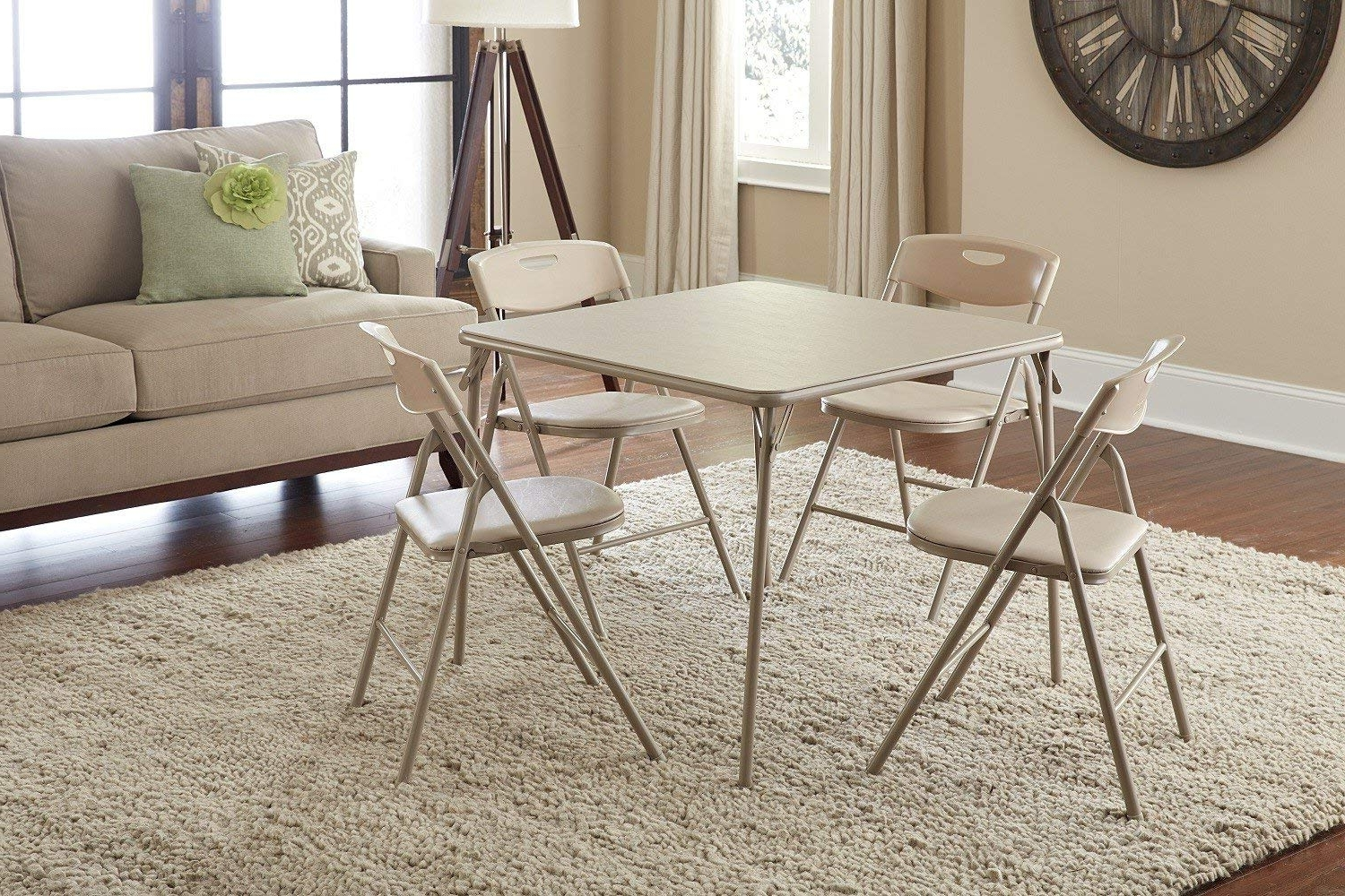 Folding Dining Table And Chairs Sets With Newest Amazon: Cosco 5 Piece Folding Table And Chair Set, Antique Linen (View 16 of 25)