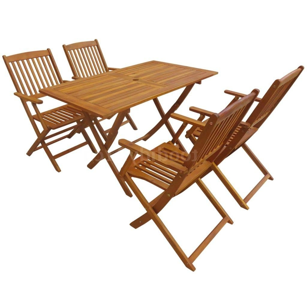 Folding Outdoor Dining Tables In Most Recently Released 5 Pcs Furniture Folding Outdoor Dining Table Chair Set Acacia Wood (View 18 of 25)