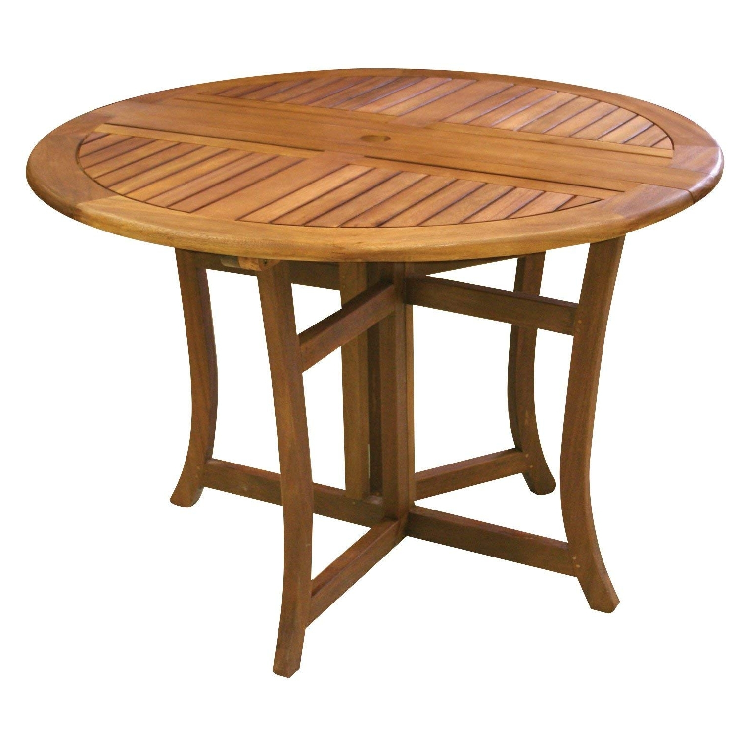Folding Outdoor Dining Tables Inside Well Known Amazon : Eucalyptus 43 Inch Round Folding Deck Table : Patio (View 3 of 25)