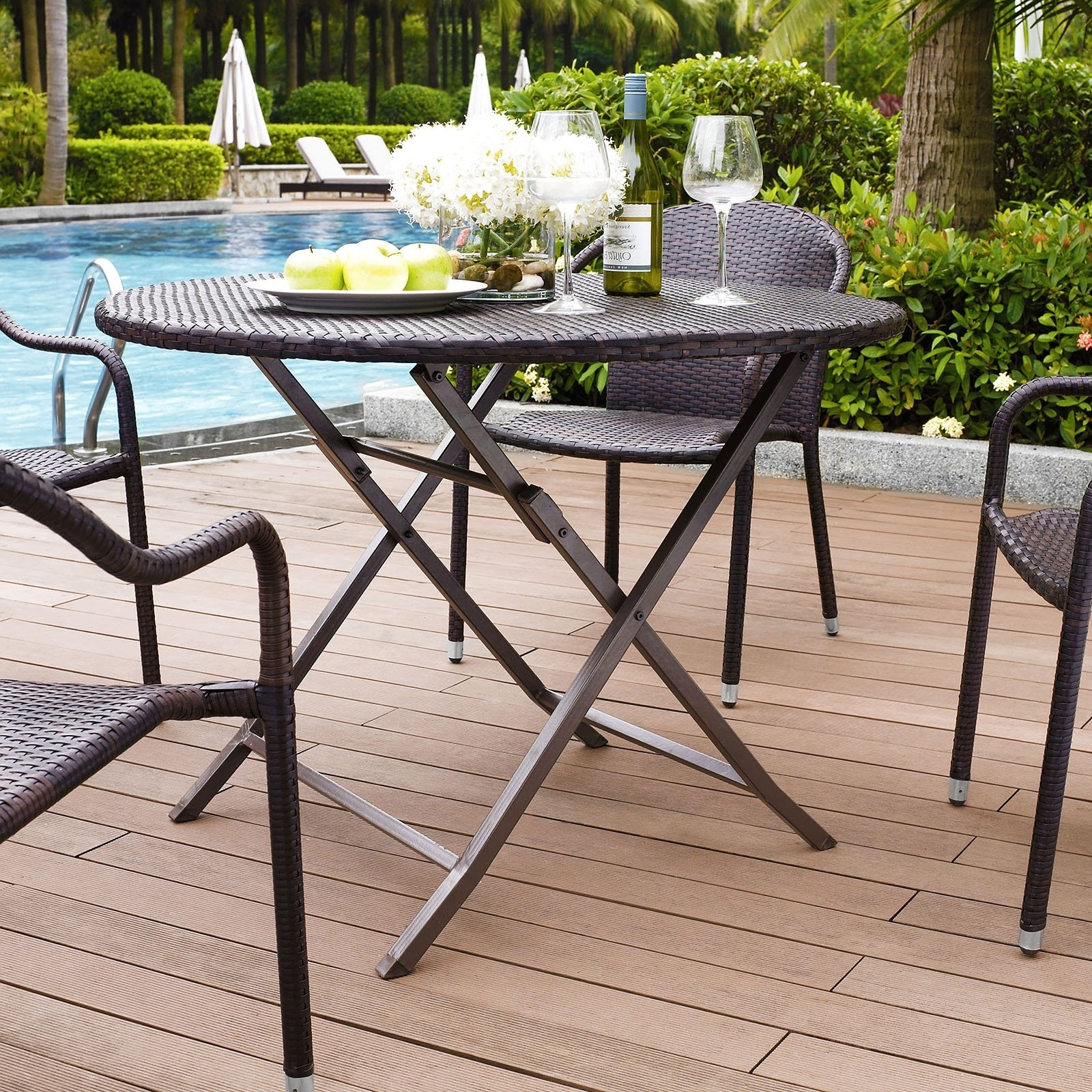 Folding Outdoor Dining Tables With 2017 Crosley Furniture Palm Harbor Outdoor Wicker Folding Table – Walmart (View 9 of 25)