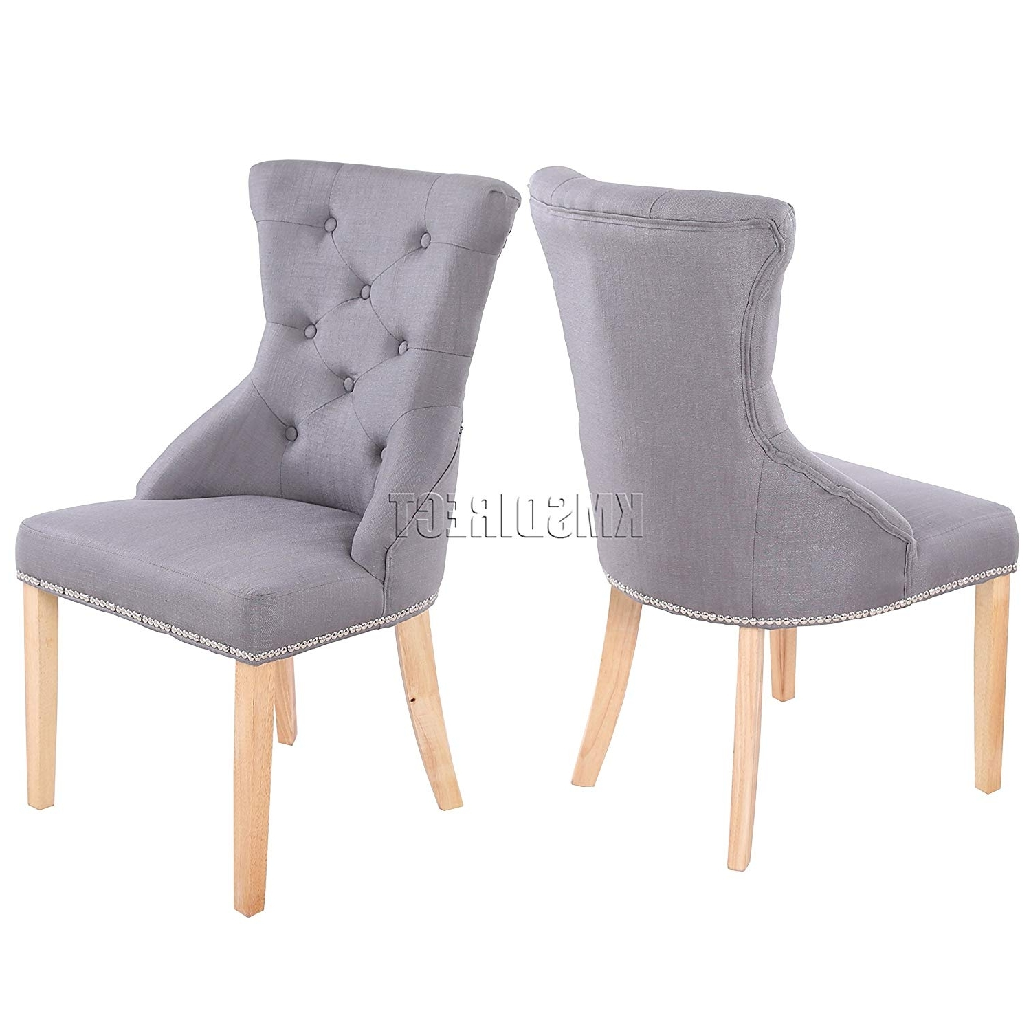 Foxhunter Set Of 2 Fabric Linen Dining Chairs Scoop Button Back Chrome  Studs Office Lounge Seat Dcf05 Grey Furniture Contemporary Modern Look  Please Intended For Famous Fabric Dining Chairs (View 16 of 25)