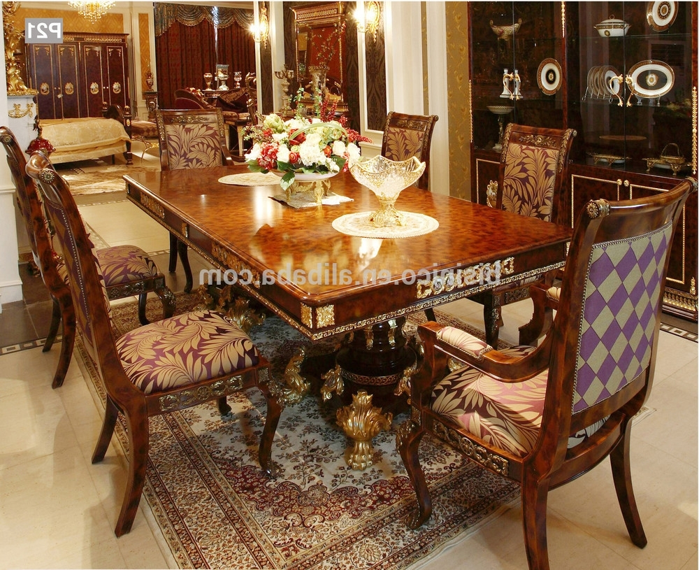 French Baroque Style Mahogany Dining Table/ Palace Solid Wood Regarding Famous Market 6 Piece Dining Sets With Side Chairs (View 13 of 25)