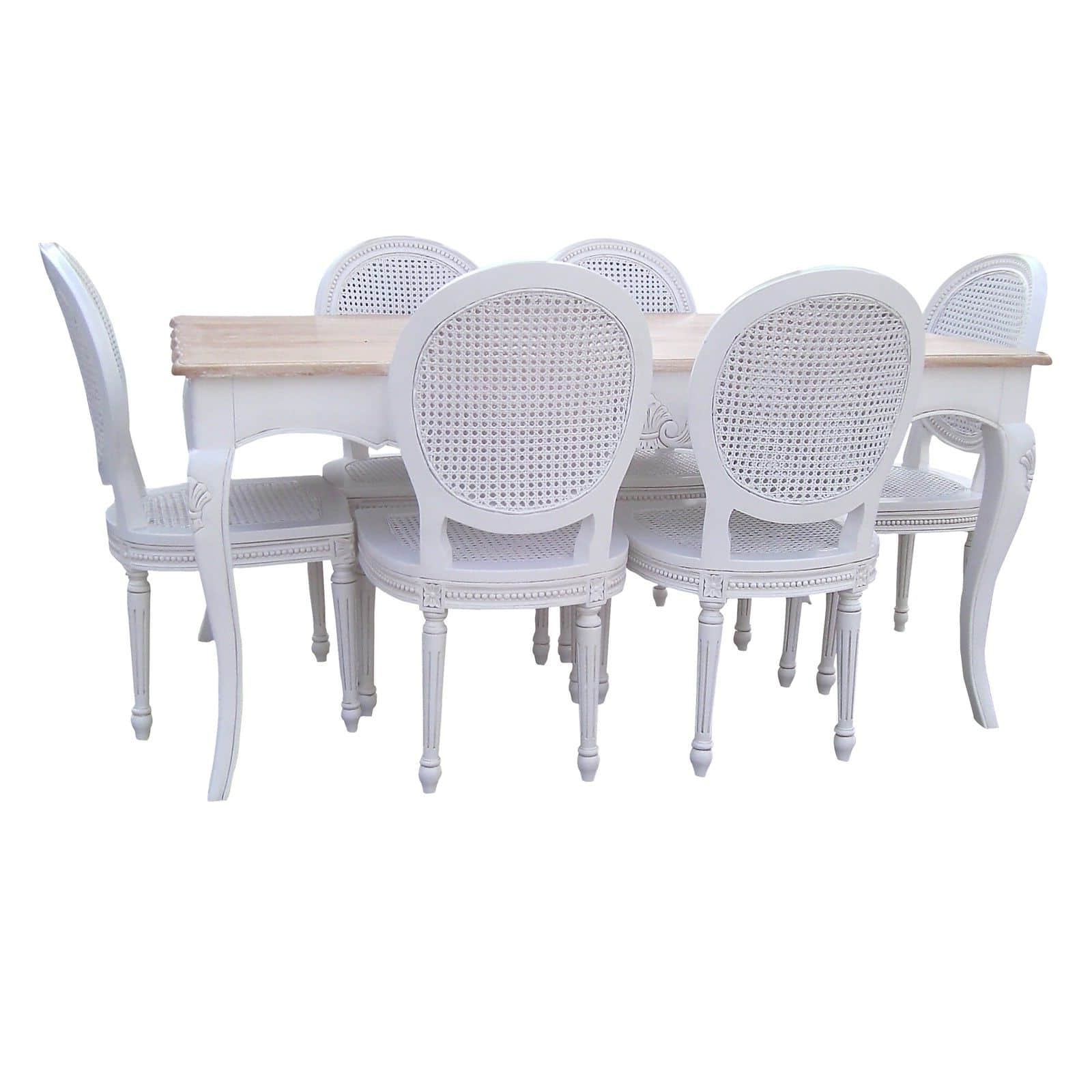French Chateau White Mahogany Dining Table Set With 6 Chairs Inside Recent White Dining Tables And 6 Chairs (View 10 of 25)