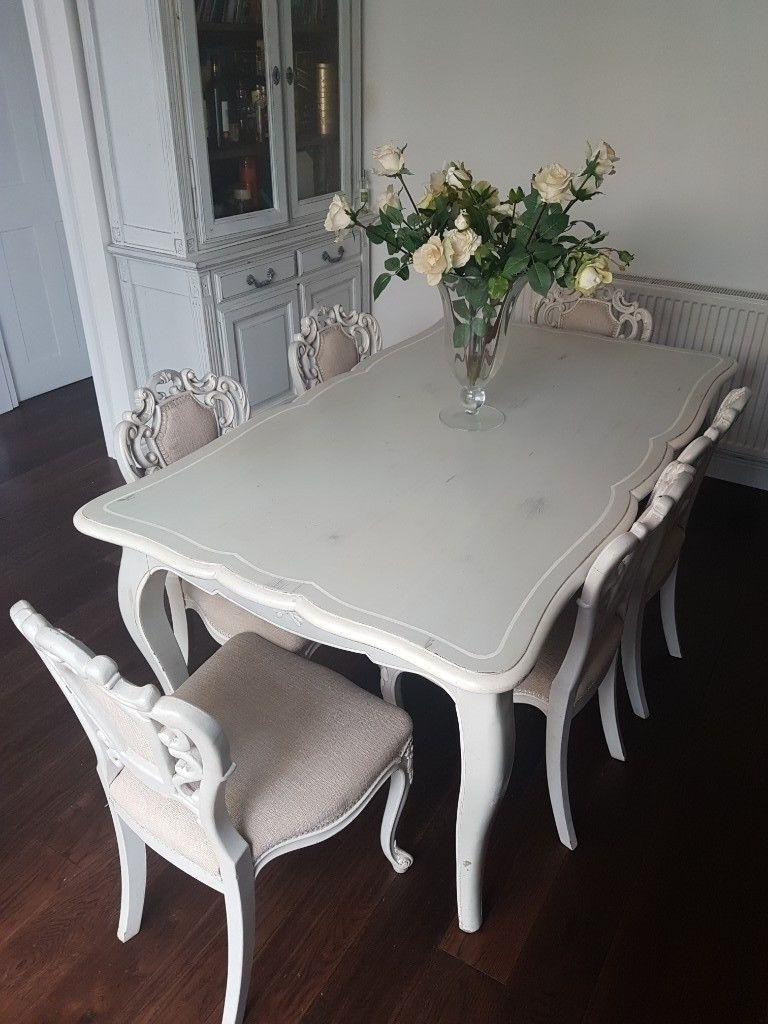 French Chic Dining Tables Throughout Widely Used French Shabby Chic – Dining Table And 6 X Chairs (View 15 of 25)