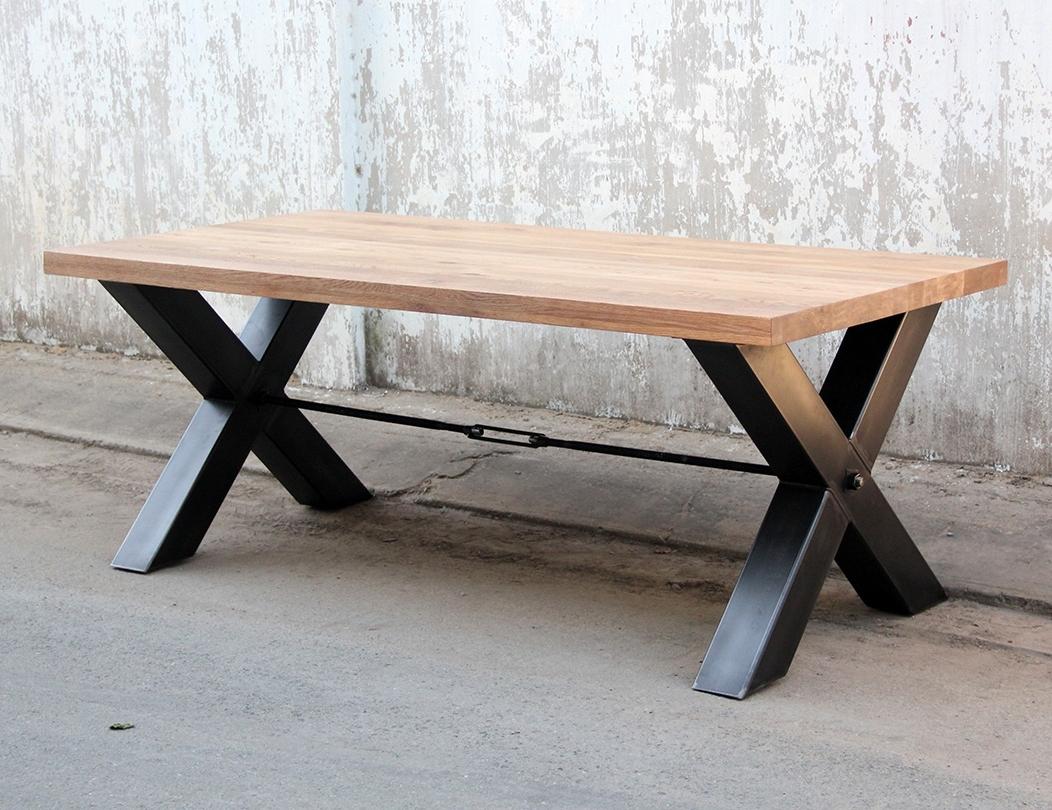Freno Dining Table, Metal Legs, Oak Top – Fannwood Vietnam Oak Regarding Recent Dining Tables With Metal Legs Wood Top (View 11 of 25)