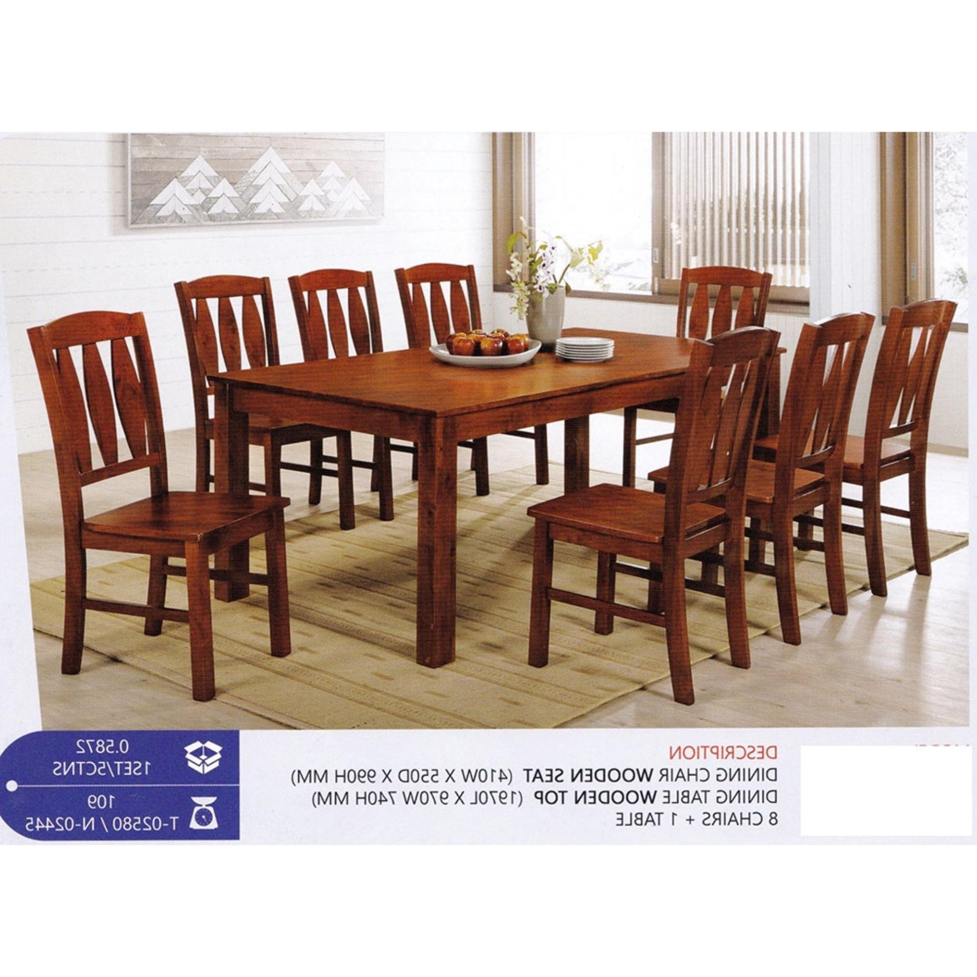 Fully Solid Wood 1+8 Dining Table Ch (End 5/2/2021 12:00 Am) Pertaining To Well Known Dining Table Chair Sets (View 14 of 25)