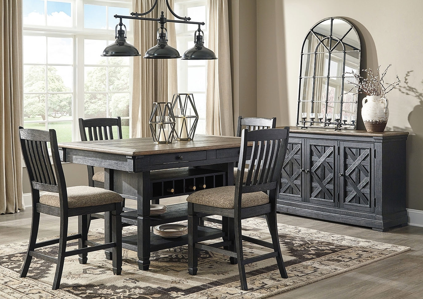 Furniture And More For Less Tyler Creek Black/grayish Brown 5 Piece Intended For Widely Used Craftsman 5 Piece Round Dining Sets With Side Chairs (View 11 of 25)