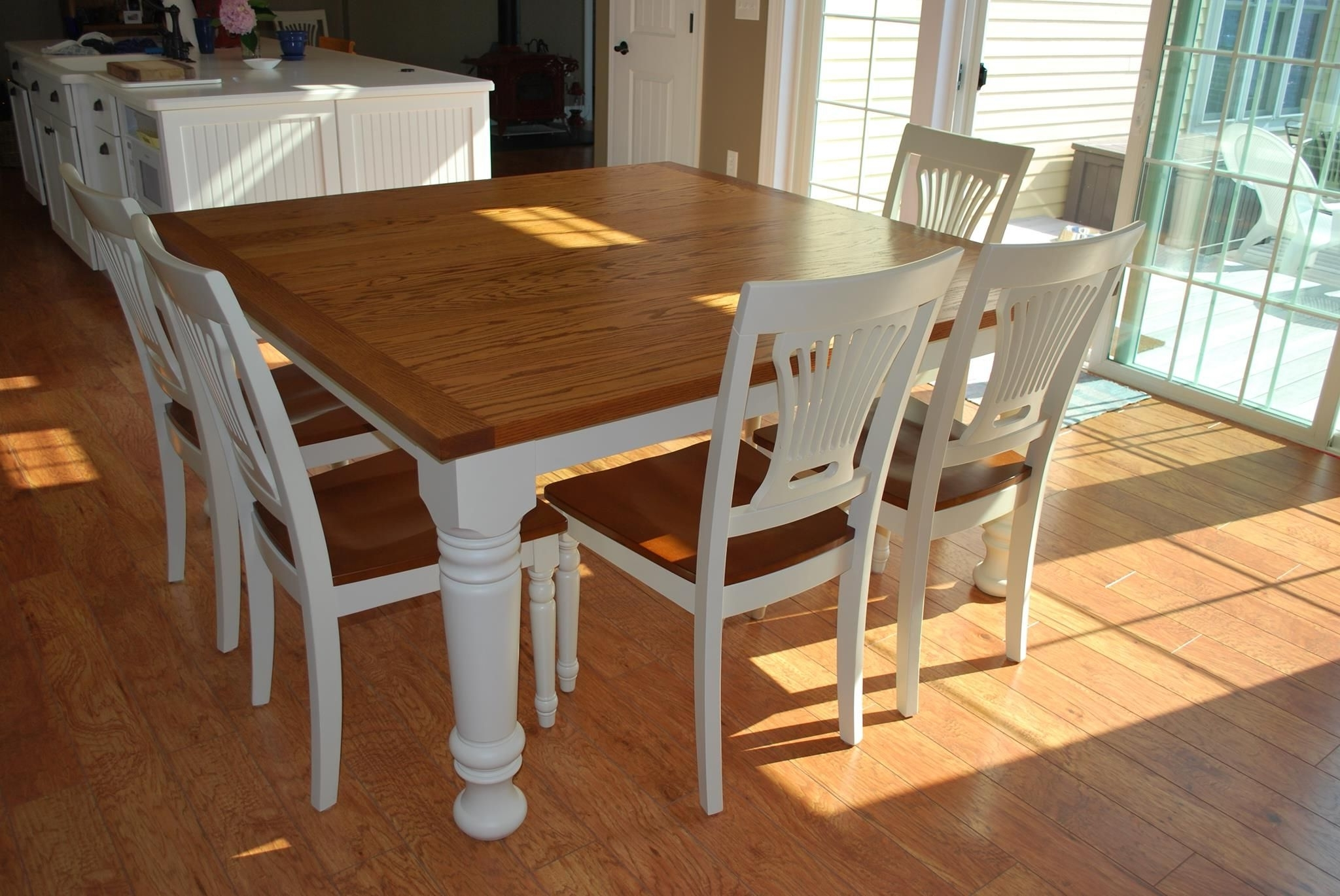 Furniture, Easy Diy Modern Square Farmhouse Dining Table With Oak For 2017 Oak Dining Tables And 8 Chairs (View 7 of 25)