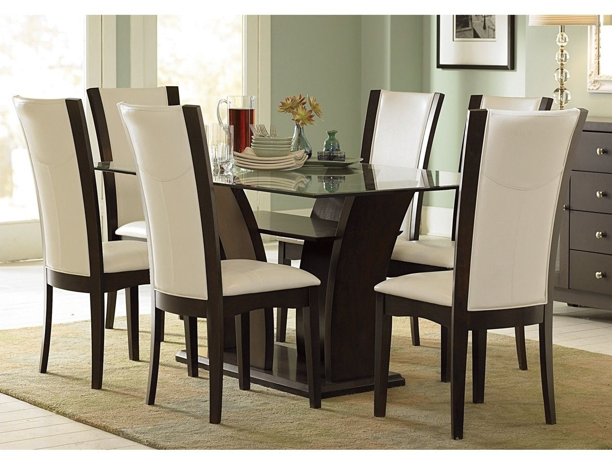 Furniture, Glass Top Wooden Base Fine Modern Dining Table Design Throughout Fashionable Modern Dining Table And Chairs (View 10 of 25)