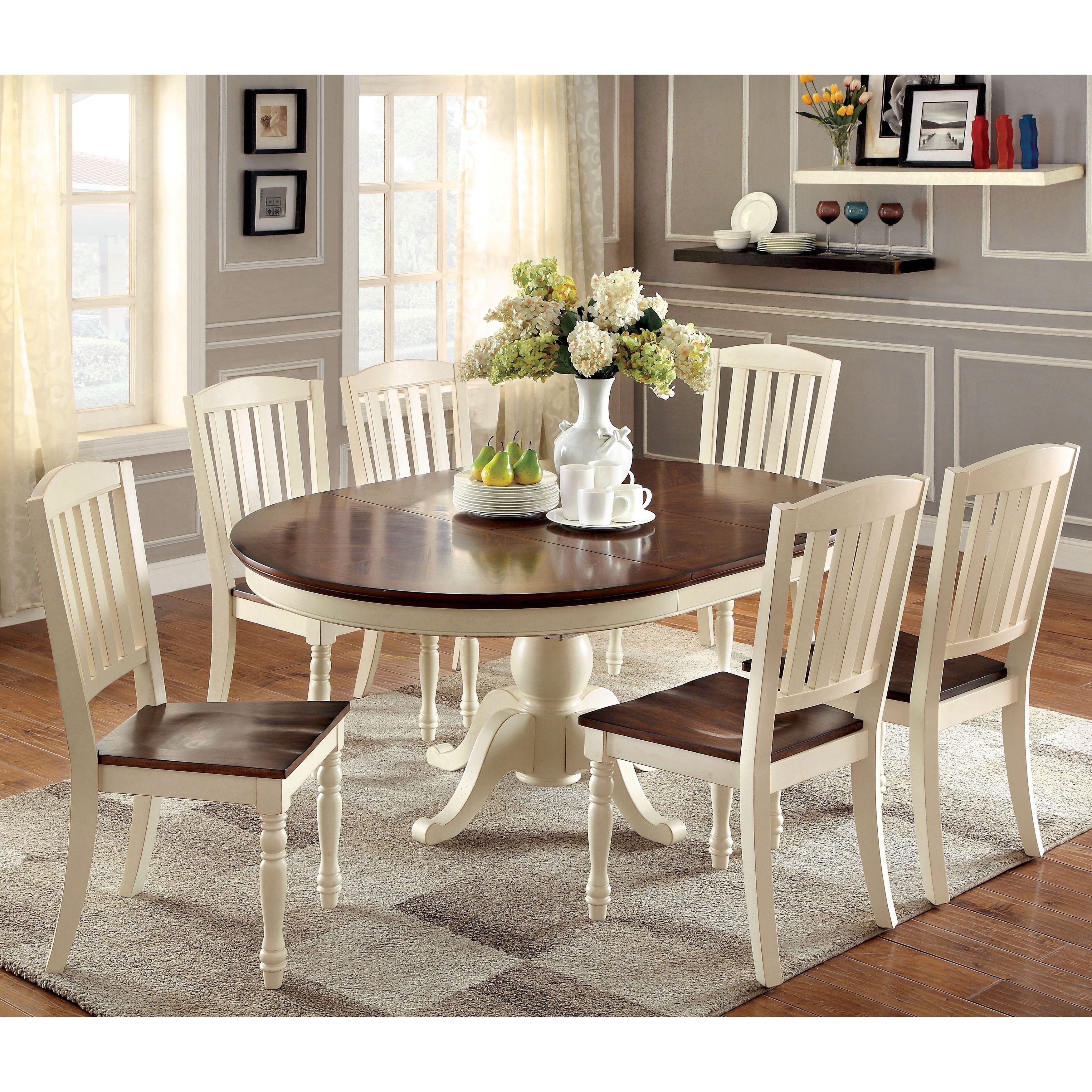 Furniture Of America Bethannie 7 Piece Cottage Style Oval Dining Set Within Most Recent Craftsman 5 Piece Round Dining Sets With Uph Side Chairs (View 24 of 25)