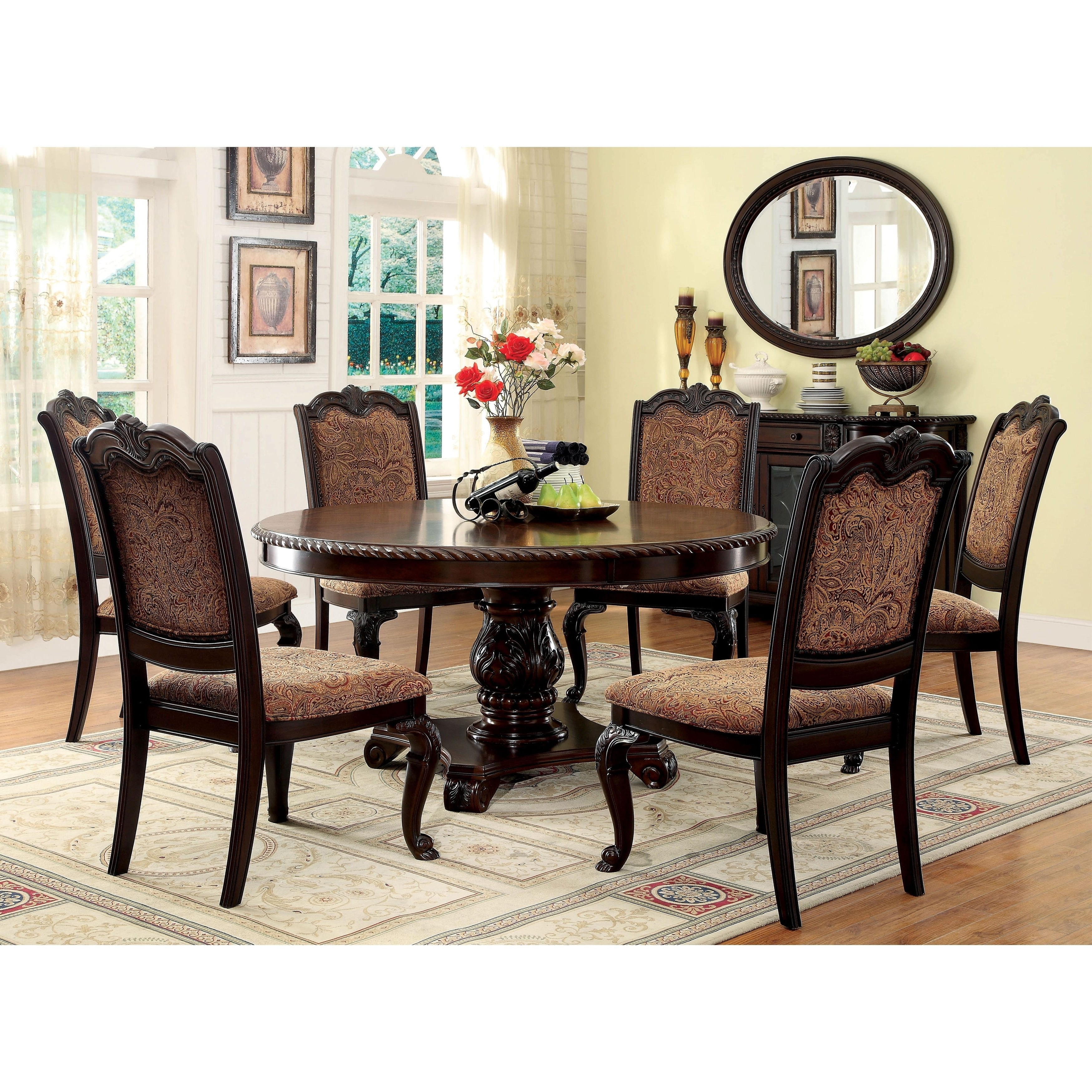 Furniture Of America Oskarre Iii Brown Cherry (Red) 7 Piece Formal With Widely Used Norwood 7 Piece Rectangular Extension Dining Sets With Bench, Host & Side Chairs (View 6 of 25)