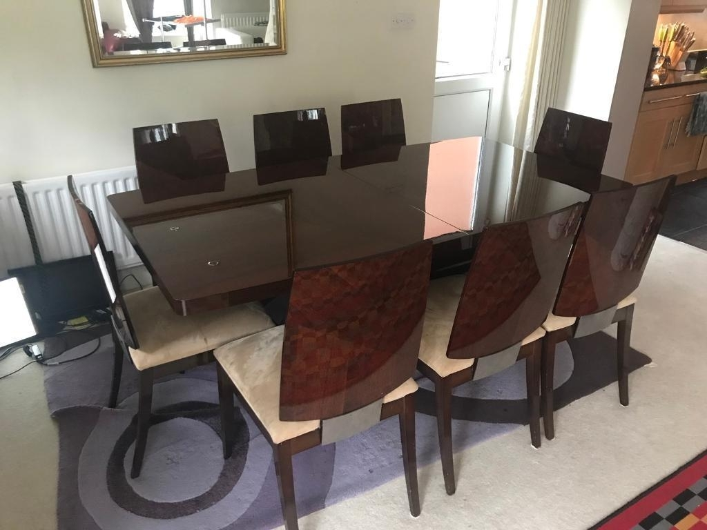 Furniture Village Rossini Italian Walnut Dining Table And 8 Chairs With Most Recently Released Walnut Dining Tables And Chairs (View 4 of 25)