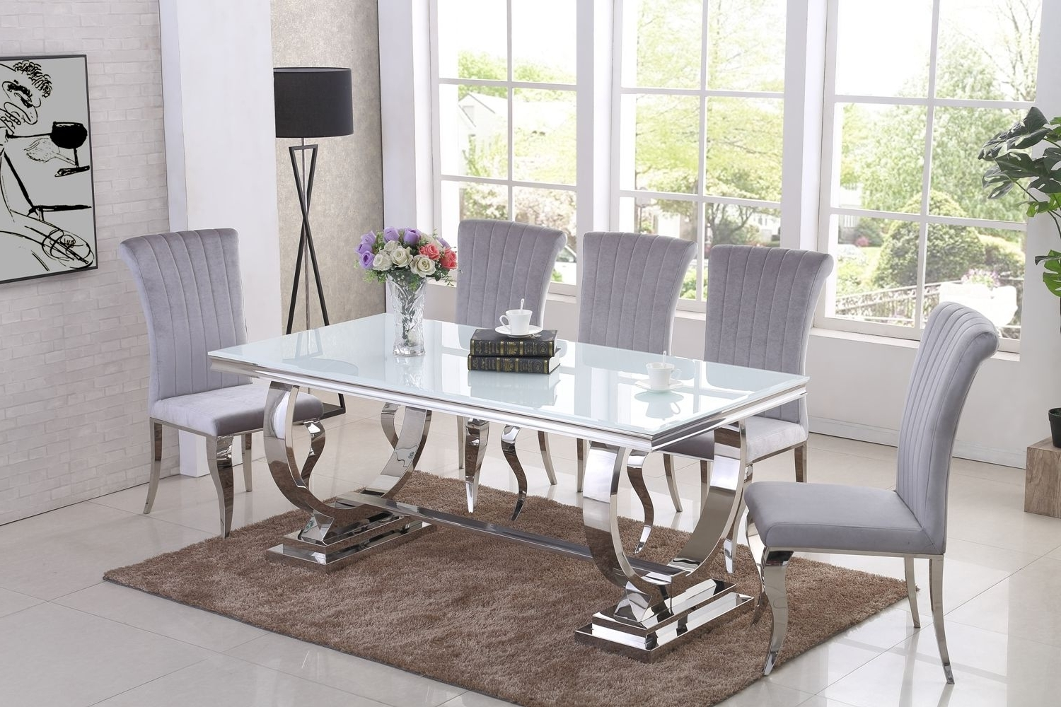 Ga Romano White Dining Table & 4 6 8 Grey Chairs Within Well Liked White Dining Tables (View 25 of 25)