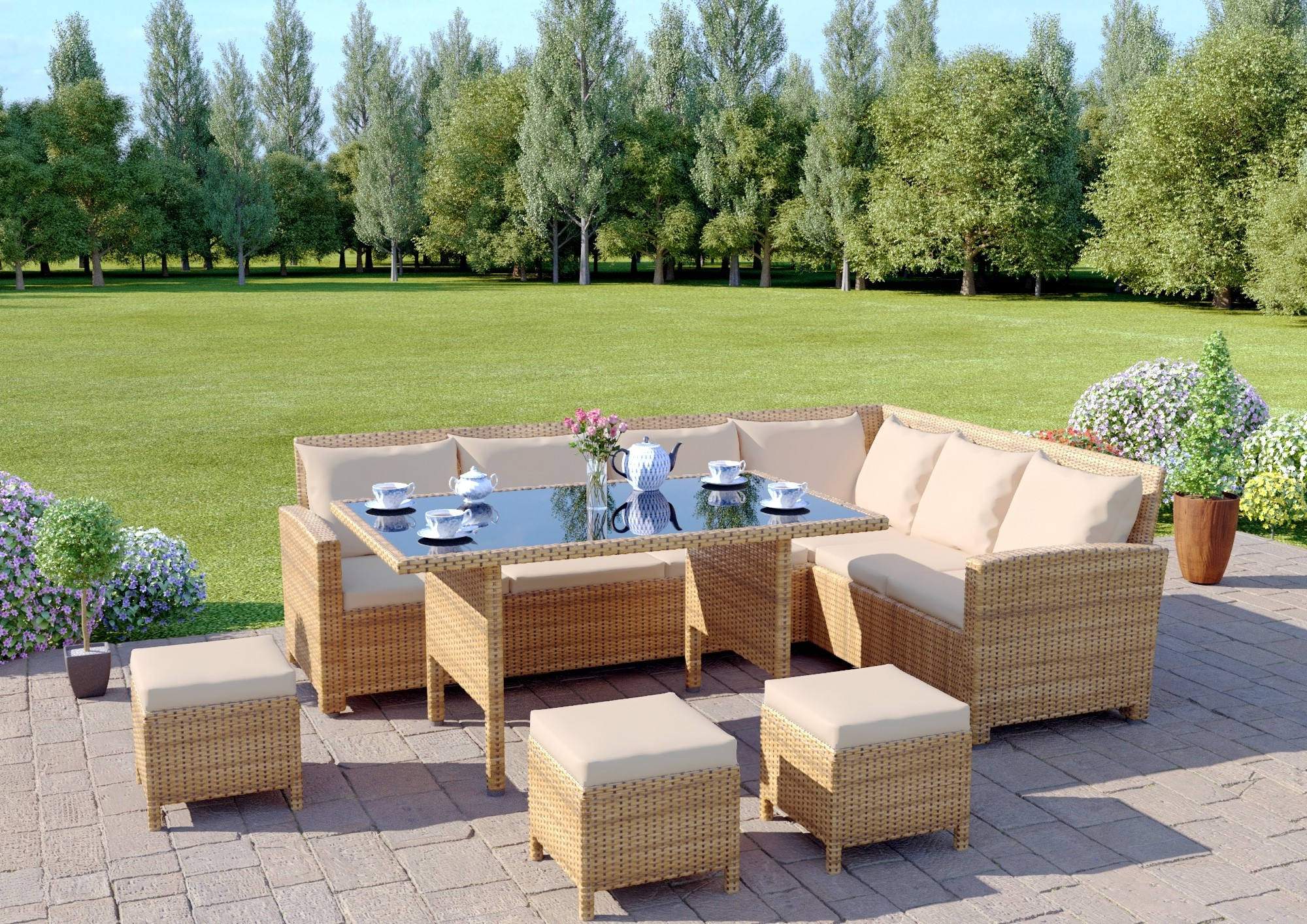 Garden Dining Tables In Favorite 9 Seat Light Brown Rattan Garden Furniture Corner Sofa Dining Set (View 10 of 25)