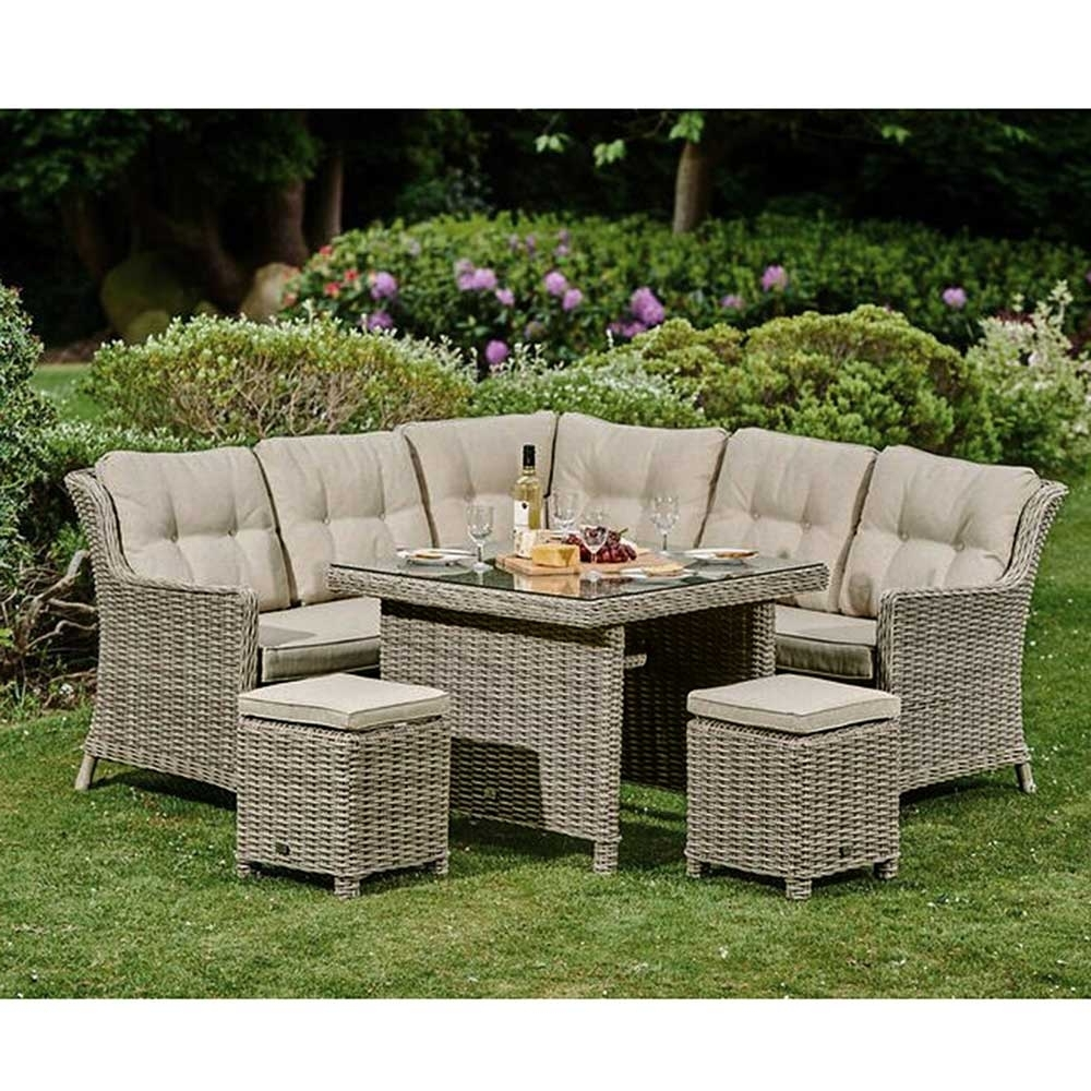 Garden Dining Tables With Widely Used Palmera Corner Garden Sofa, Square Dining Table And 2 Stools (View 20 of 25)
