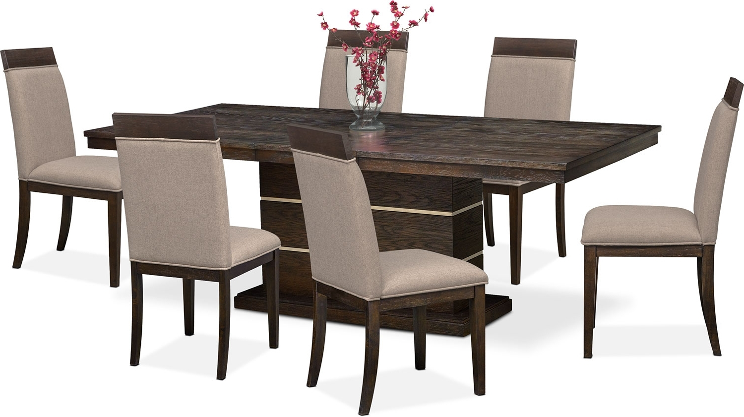 Gavin 6 Piece Dining Sets With Clint Side Chairs With Regard To Famous Gavin Pedestal Table And 6 Side Chairs – Brownstone (Gallery 4 of 25)