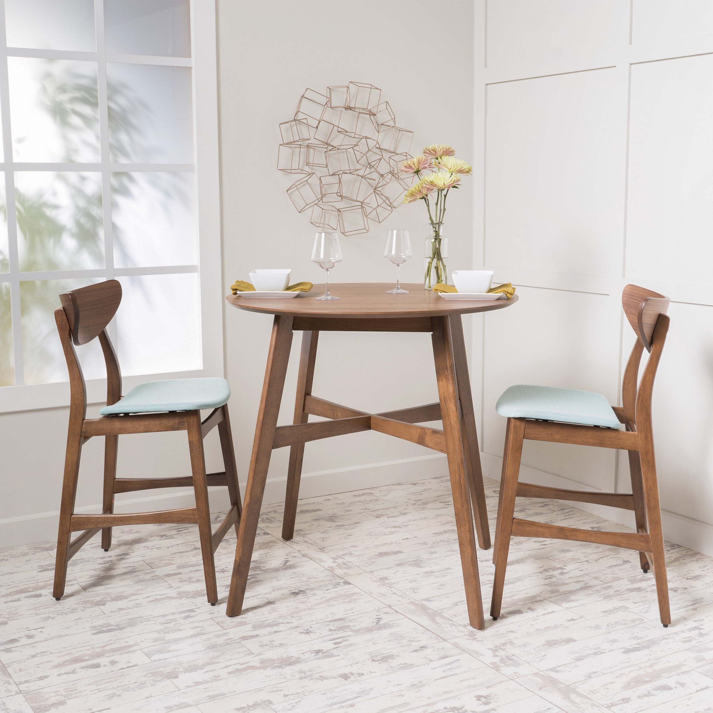 Gavin Dining Tables pertaining to Most Recent Shop Gavin 3-Piece Wood Counter-Height Round Dining Set