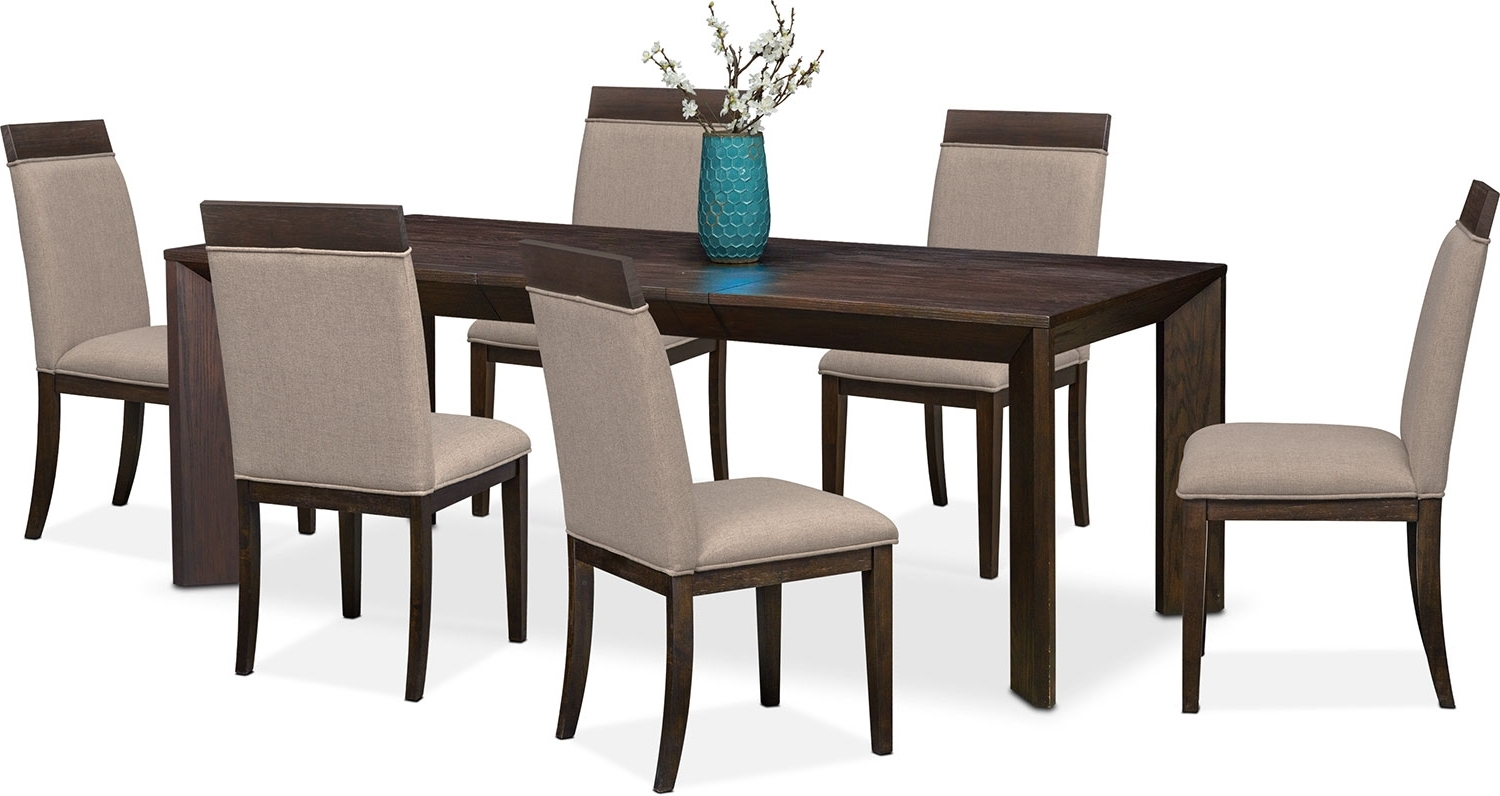 Gavin Table And 6 Side Chairs – Brownstone (View 3 of 25)