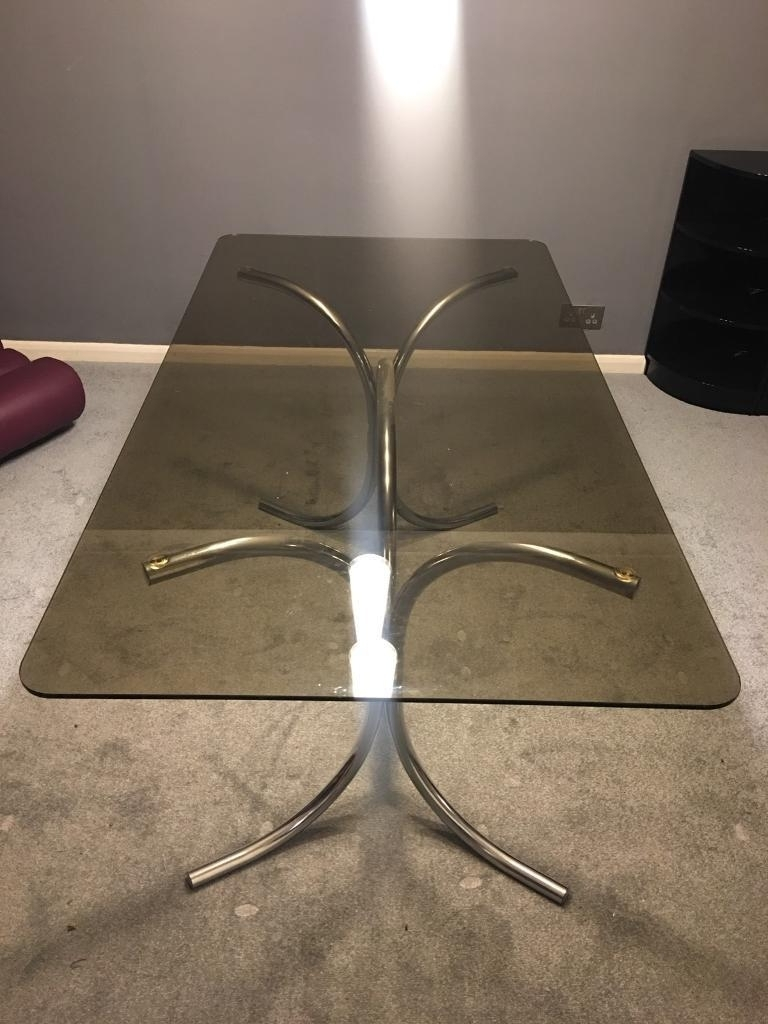 Genuine Retro 70S Smoked Glass With Chrome Leg Dining Table Seats 6 Throughout Most Up To Date Retro Glass Dining Tables And Chairs (View 2 of 25)