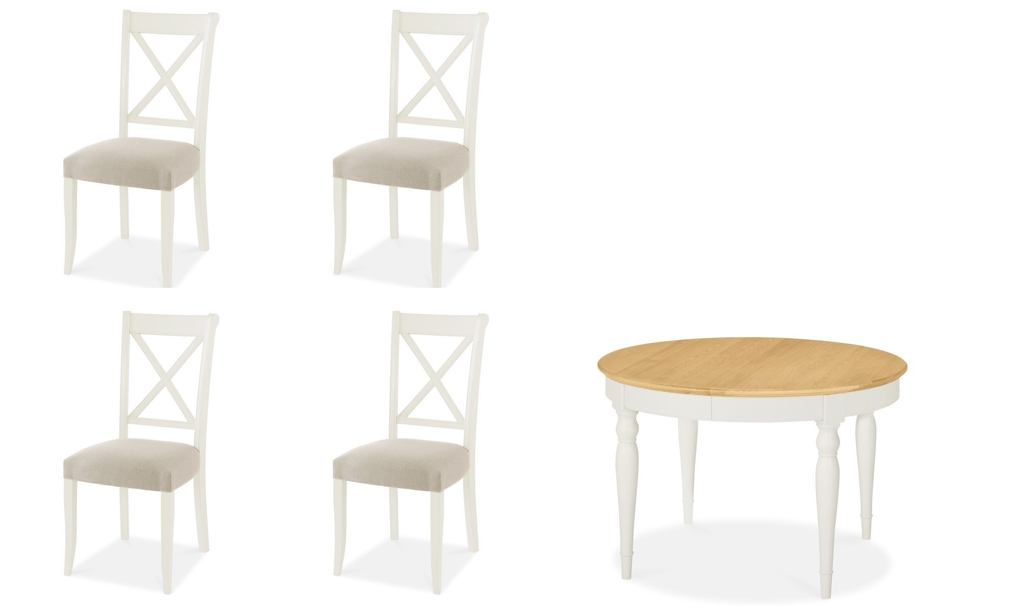 Georgie – Round Extending Dining Table And Chairs In Cream – Oak Top Intended For Well Liked Round Extending Oak Dining Tables And Chairs (View 14 of 25)