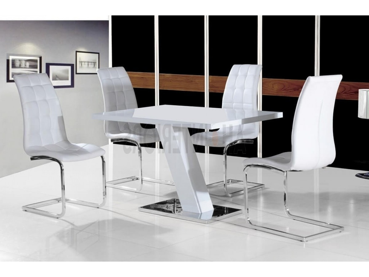 Giatalia Aliyah White Bhigh Gloss Fixed Top Dining Table In Trendy High Gloss Dining Tables Sets (Gallery 7 of 25)