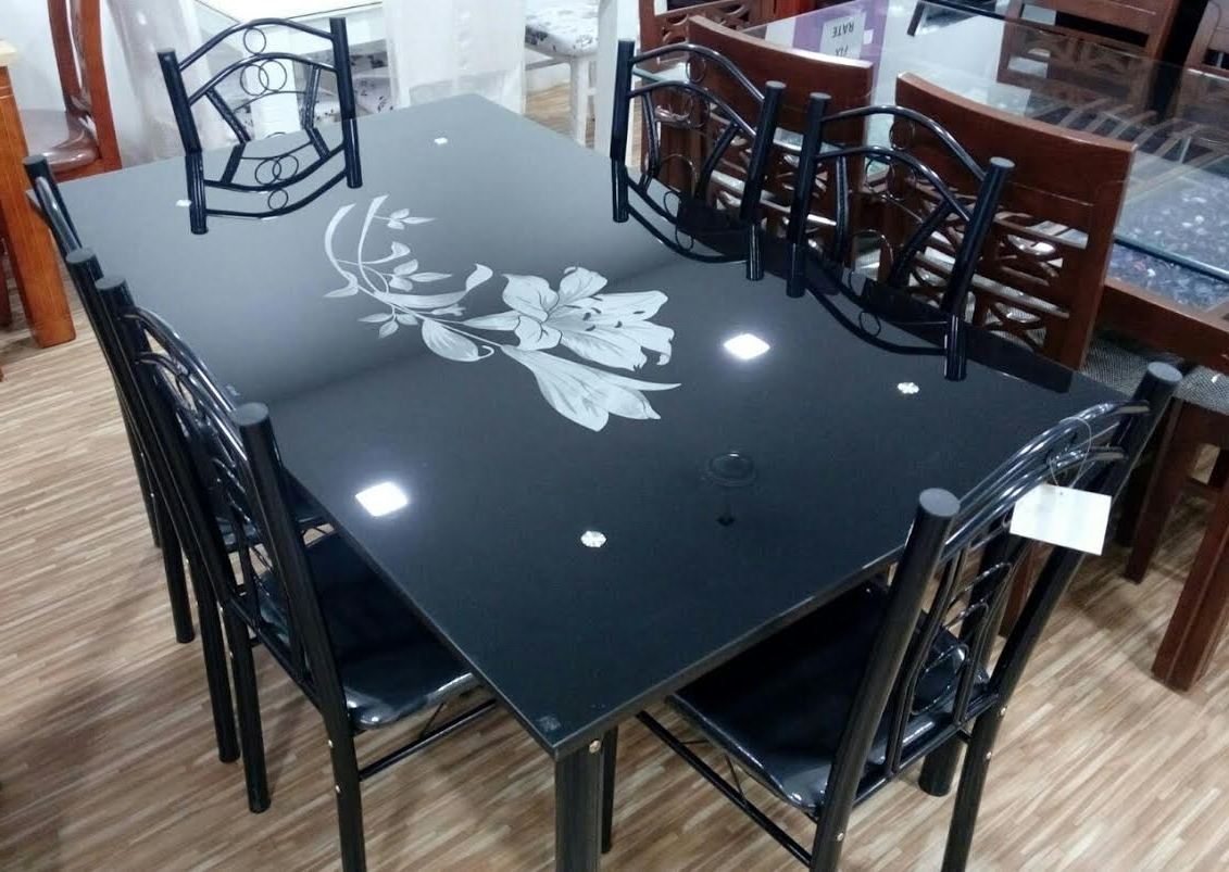 Glass 6 Seater Dining Tables Intended For Most Recent Furniture Market Surat: Dining Table Collection (View 25 of 25)