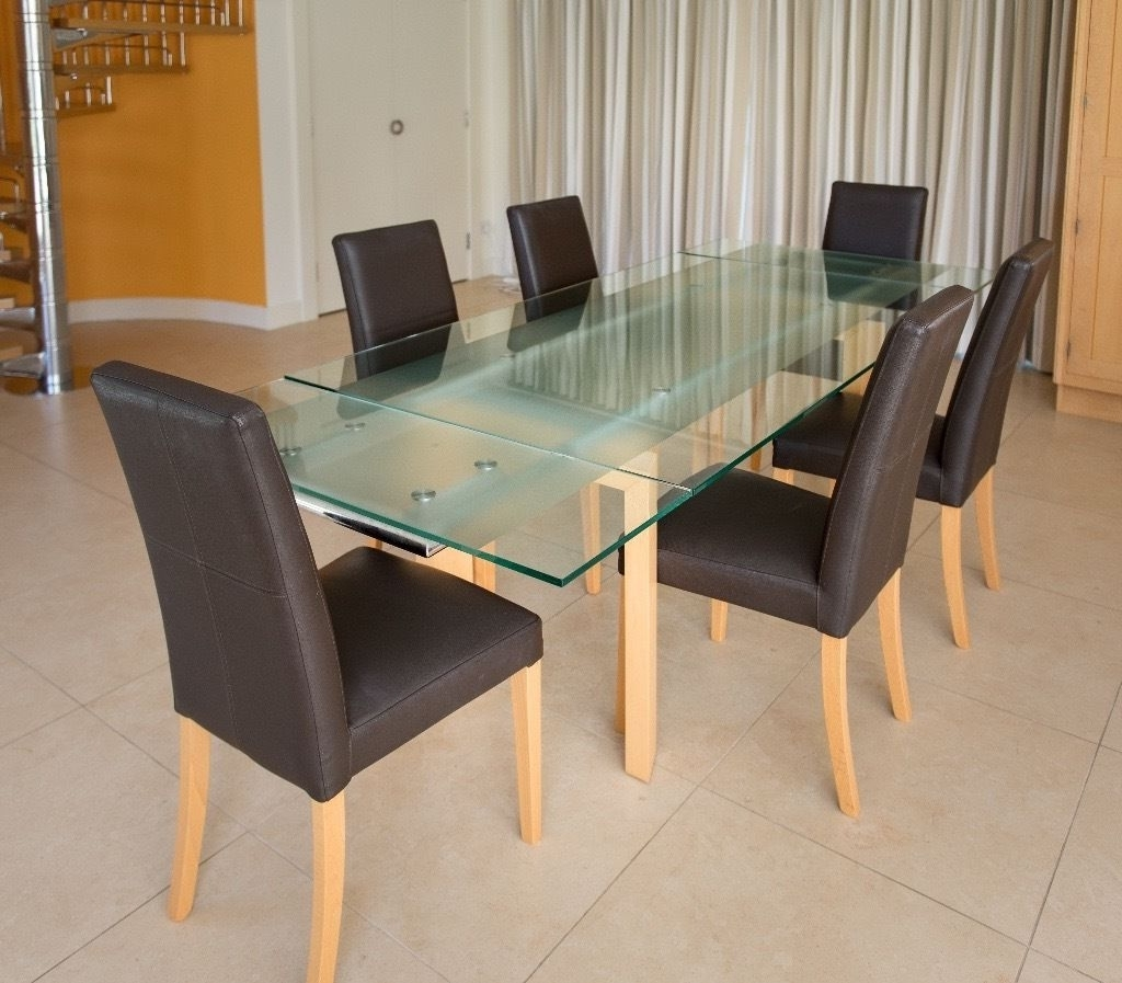 Glass And Beech Extending D Dining Table And Chairs Gumtree Glasgow in Well known Glasgow Dining Sets