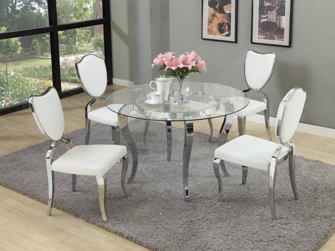 Glass And Chrome Dining Tables And Chairs Regarding Favorite Refined Round Glass Top Dining Room Furniture Dinette Sacramento (View 11 of 25)
