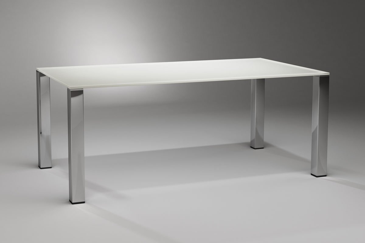 Glass And Stainless Steel Dining Tables in Most Up-to-Date Contemporary Dining Table / Glass / Stainless Steel / Rectangular