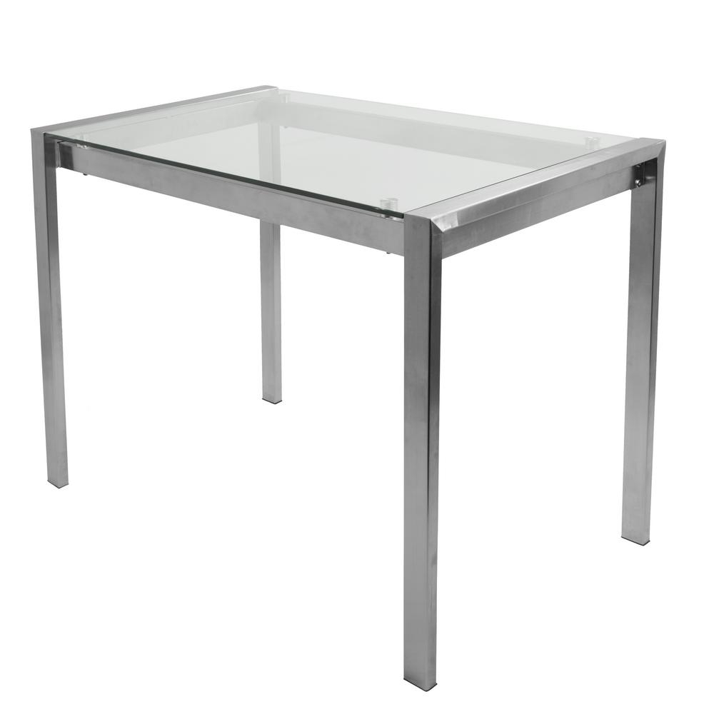 Glass And Stainless Steel Dining Tables Throughout Preferred Lumisource Fuji Contemporary Stainless Steel And Glass Counter Table (View 8 of 25)