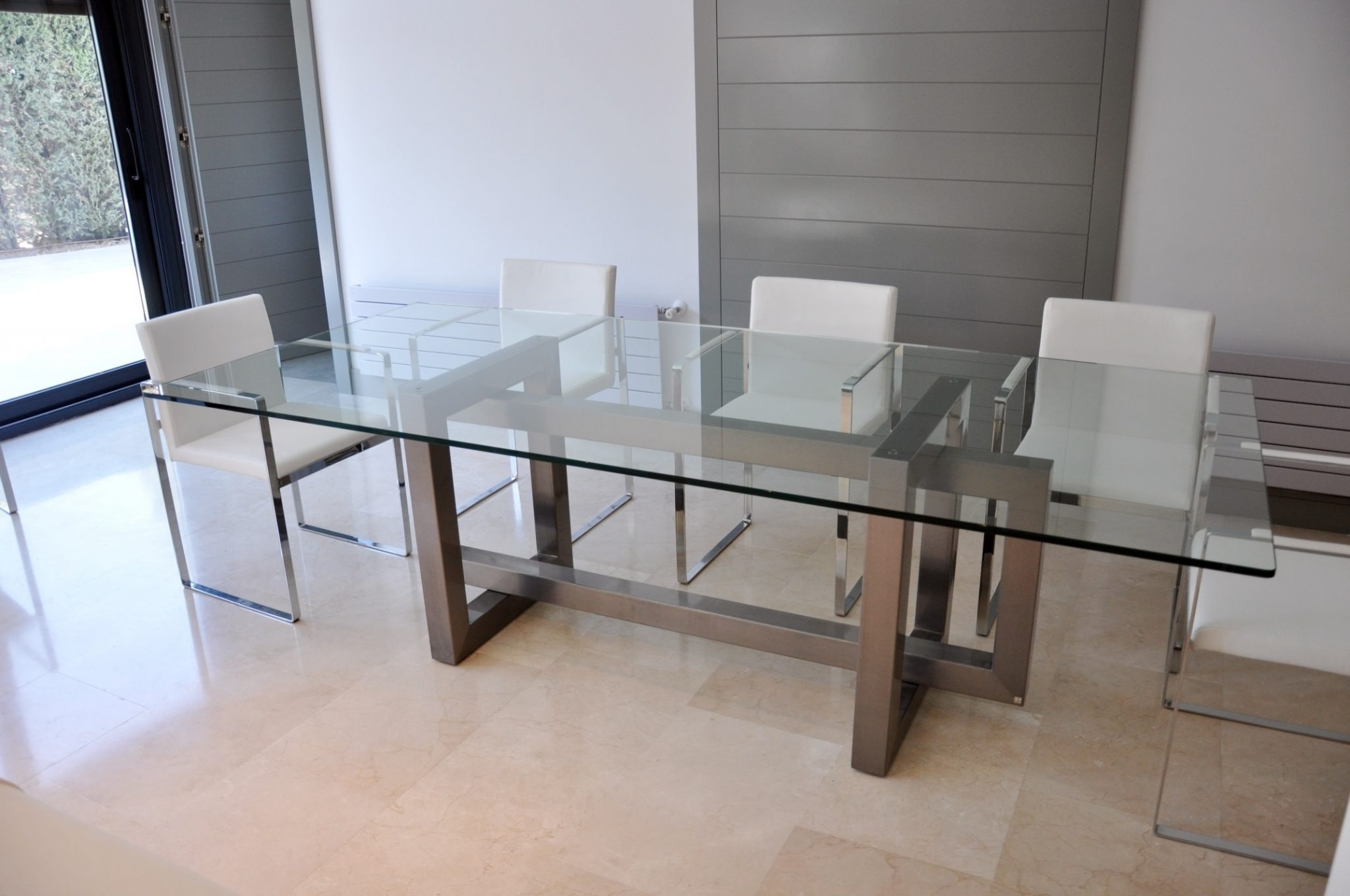 Glass And Stainless Steel Dining Tables within Well known Metal Glass Dining Table - Theradmommy