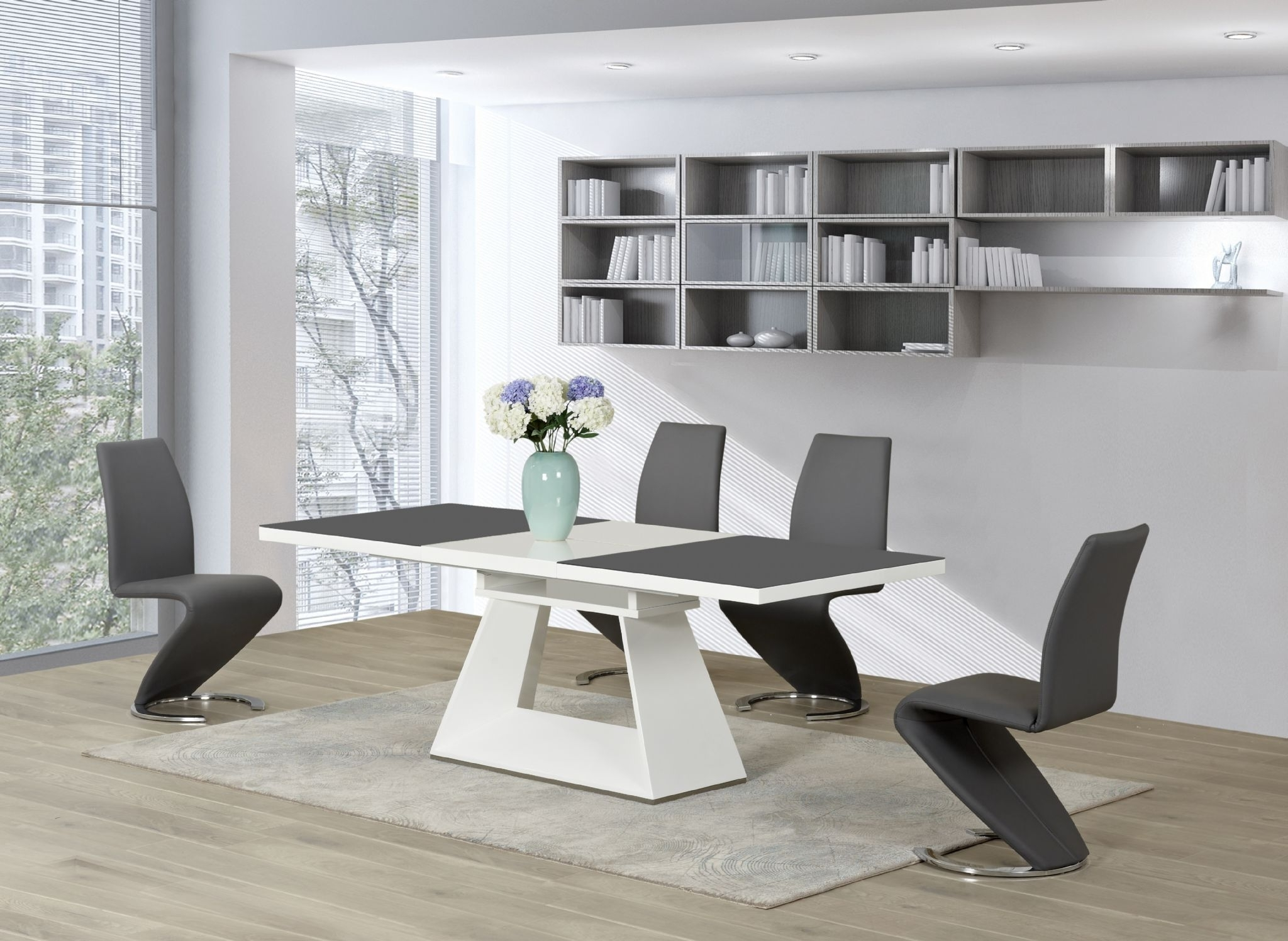 Glass And White Gloss Dining Tables within Popular Rovigo Extending Table And Dining Hideaway Round Dunelm Chrome Glass