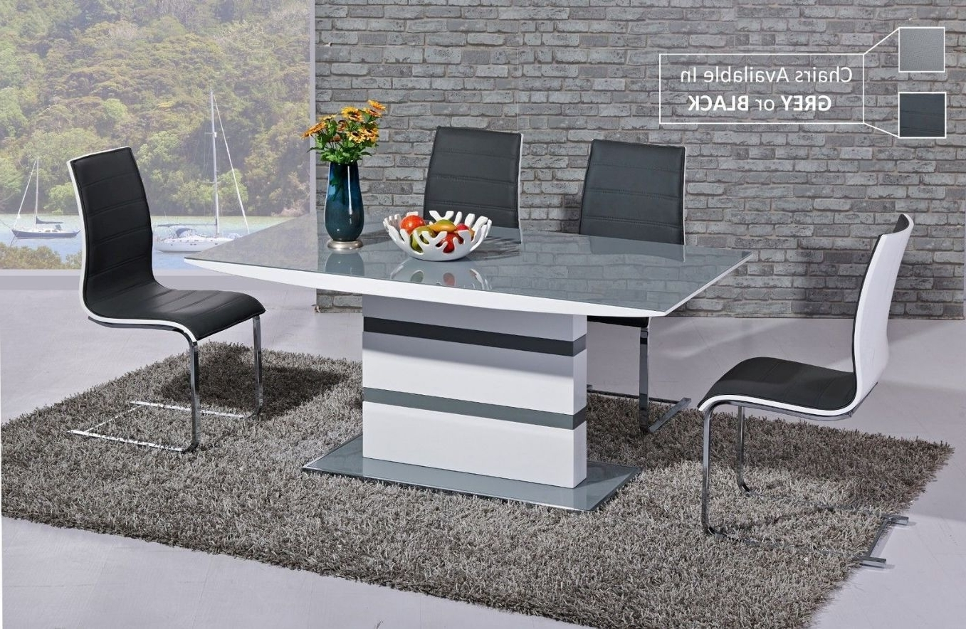 Glass And White Gloss Dining Tables Within Well Liked Ga K2 Designer White Gloss Grey Glass 160 Cm Dining Set 4 6 Swish Chairs (Gallery 4 of 25)