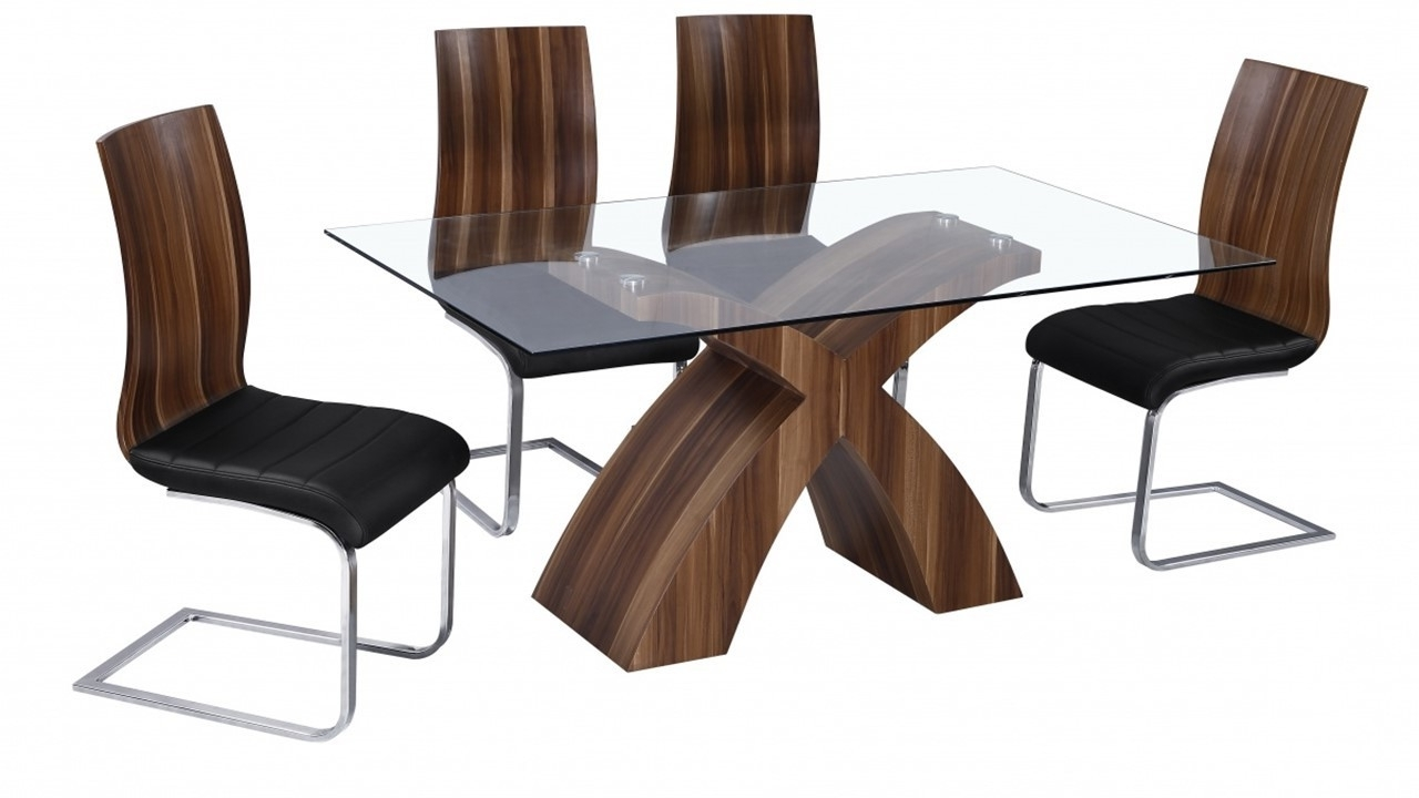 Glass Dining Table And 6 Walnut Chairs - Homegenies throughout 2017 Walnut Dining Table And 6 Chairs