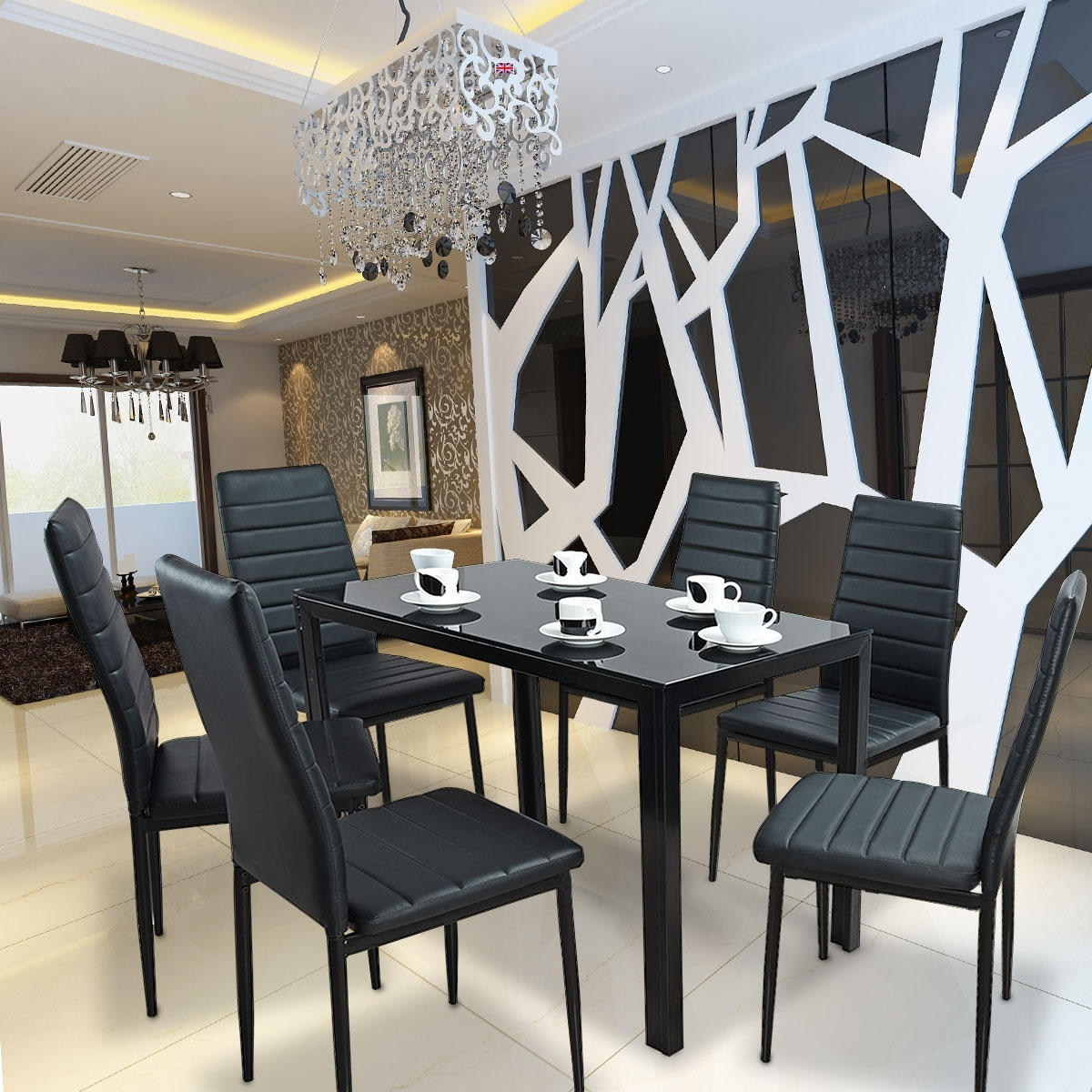 Glass Dining Table Set With 6 Faux Leather Chair Black 1 Table +6 With Newest Cheap Glass Dining Tables And 6 Chairs (View 24 of 25)
