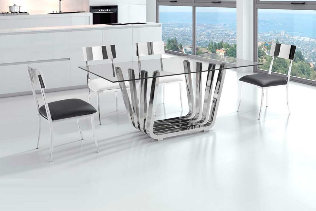 Glass Dining Table With Chrome Base Z325 (Gallery 23 of 25)