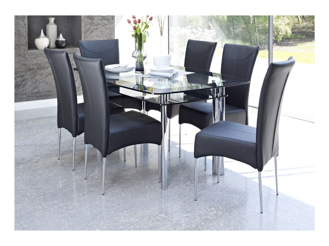 Glass Dining Tables And 6 Chairs Intended For Fashionable 2018 Black Glass Dining Table And 6 Chairs Cheap – Modern Used (View 14 of 25)