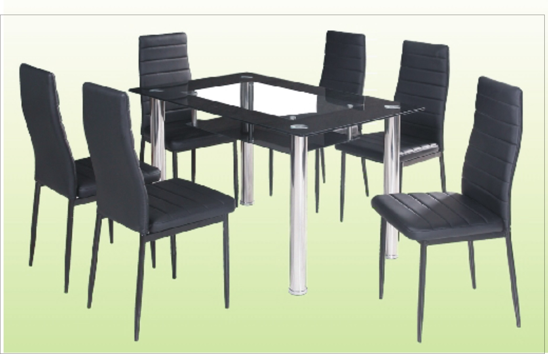 Glass Dining Tables And 6 Chairs Throughout Well Known 6 Chair Dining Table With Glass Top – Cebu Appliance Center (View 17 of 25)
