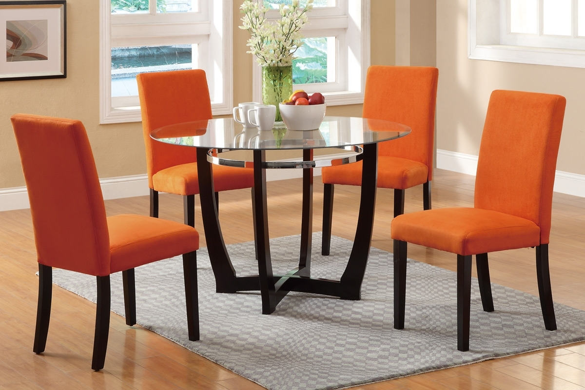 Glass Dining Tables And Chairs Pertaining To Popular Poundex F2348 5Pcs (View 14 of 25)