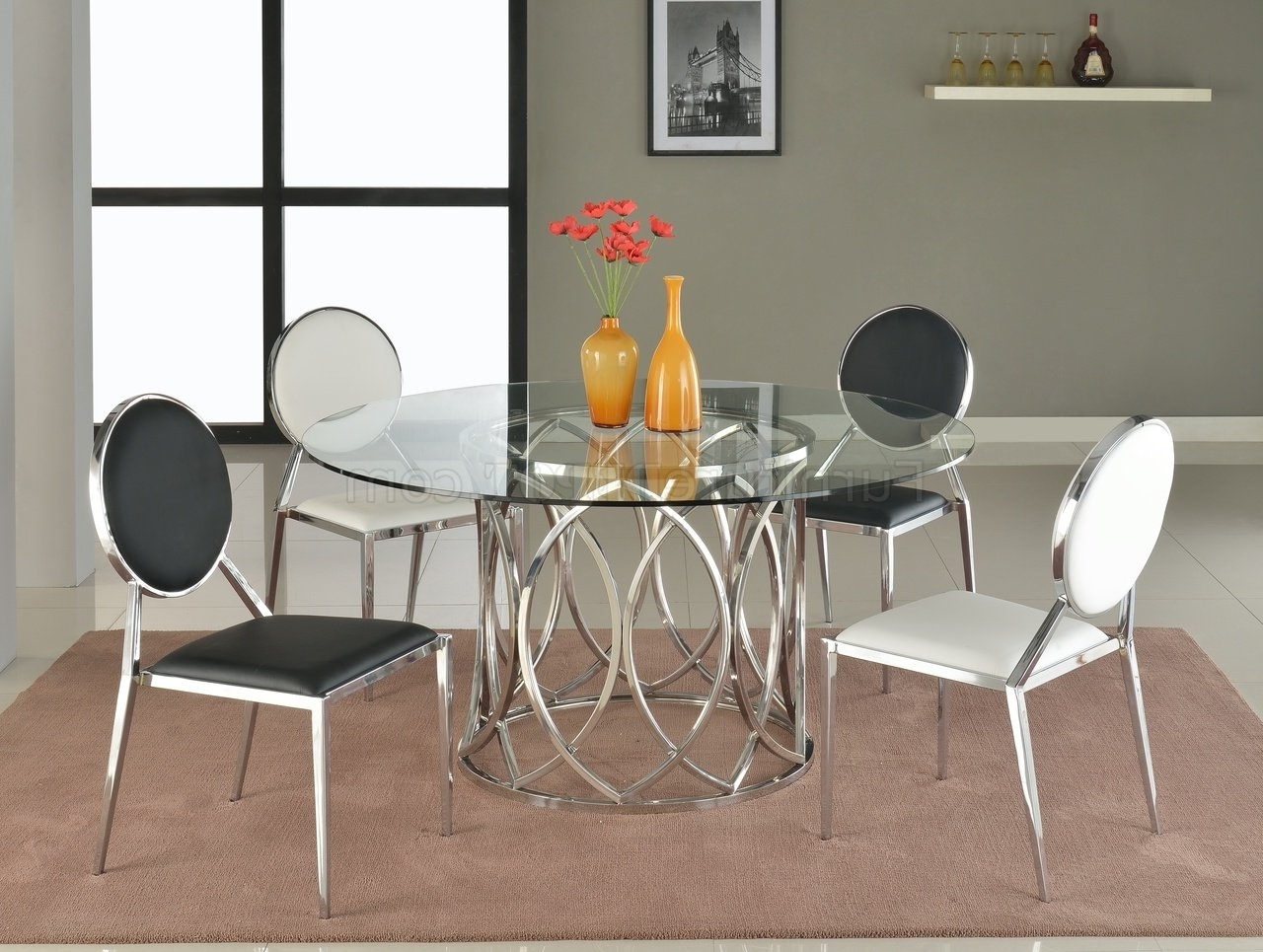 Glass Dining Tables And Chairs Within Current Courtney 5Pc Glass Dining Table & 4 Lisa Chairschintaly (View 15 of 25)