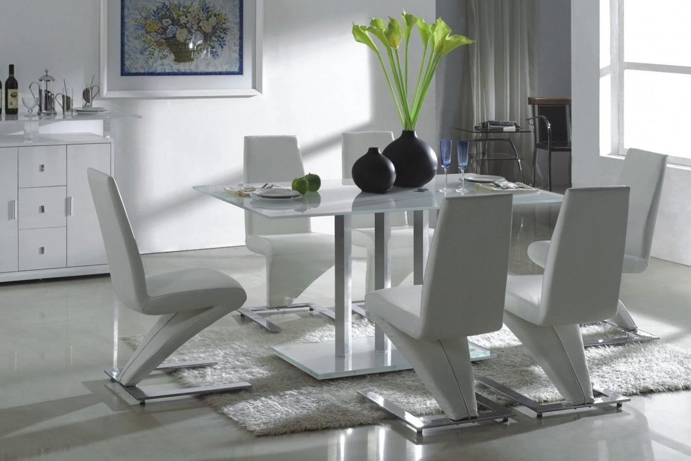 Glass Dining Tables And Leather Chairs With Most Recently Released 2019 Glass Dining Table With White Leather Chairs – Modern Design (Gallery 8 of 25)
